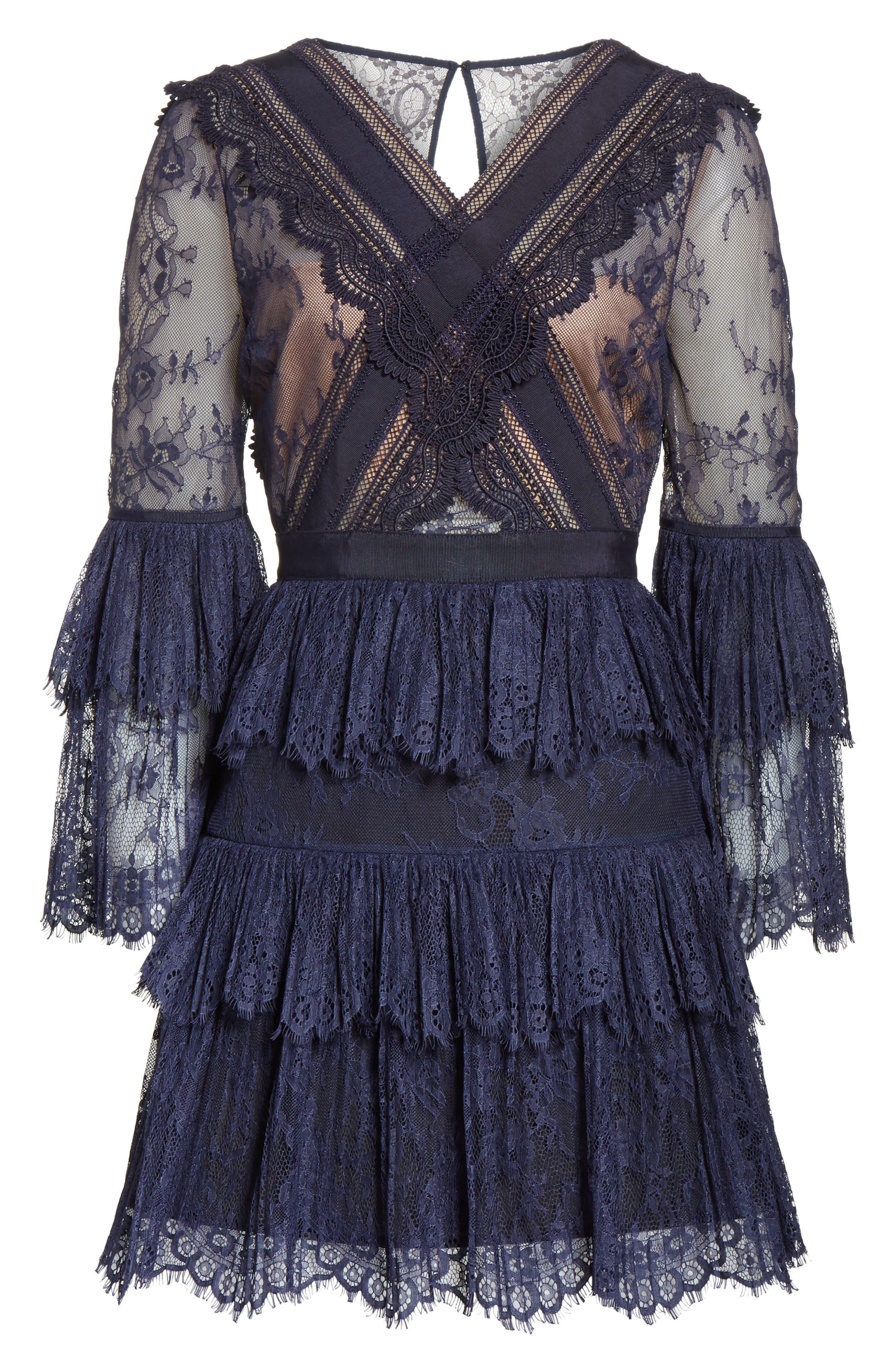 Pleated Lace Dress,                             Alternate thumbnail 6, color,                             Dark Blue