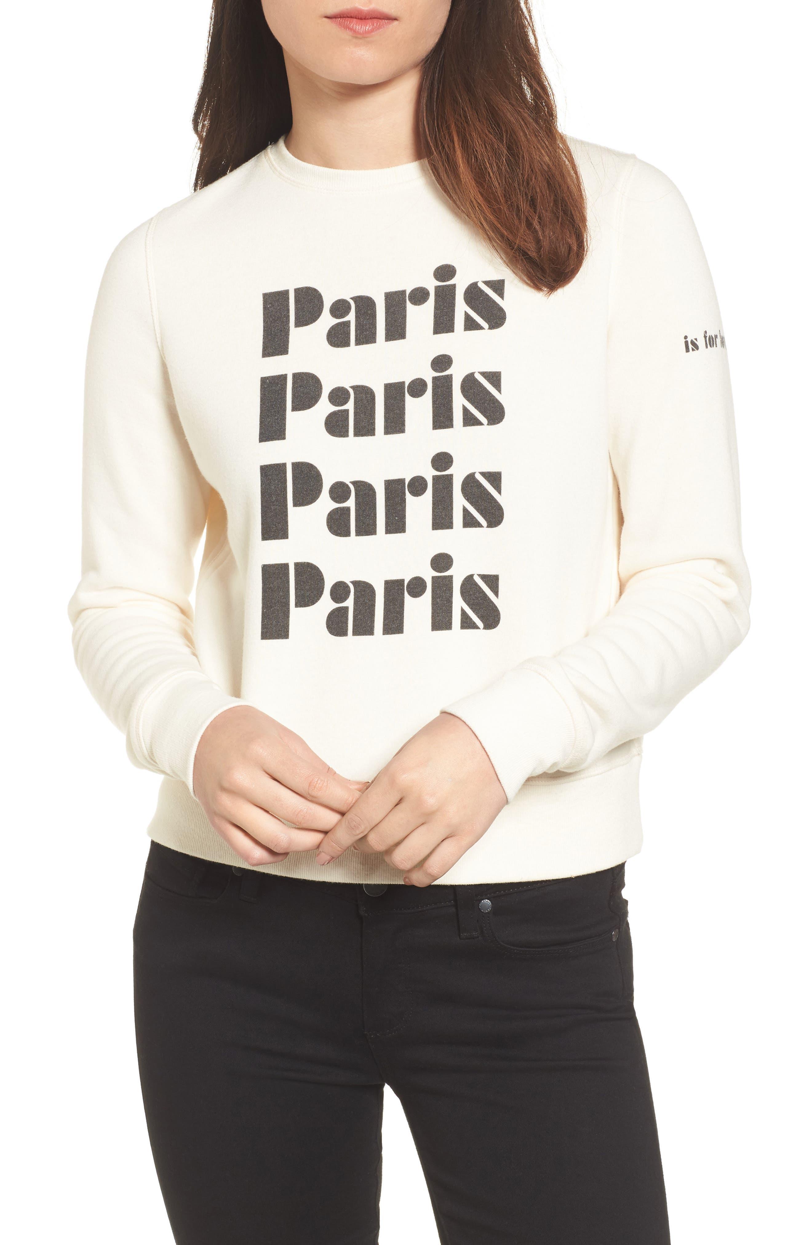 Paris Sweatshirt,                         Main,                         color, Off White/ Black