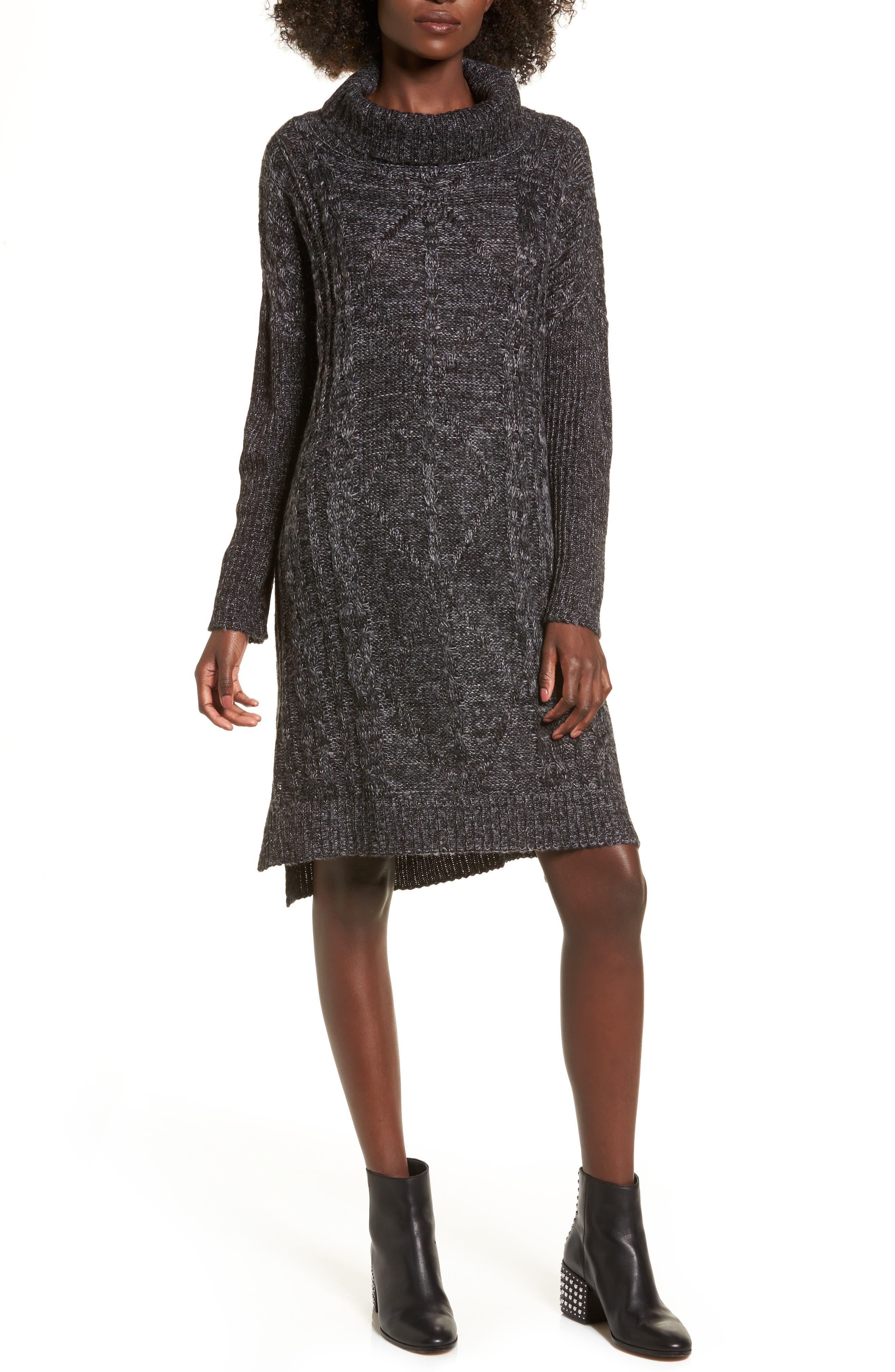 Chunky Turtleneck Sweater Dress,                             Main thumbnail 1, color,                             Charcoal