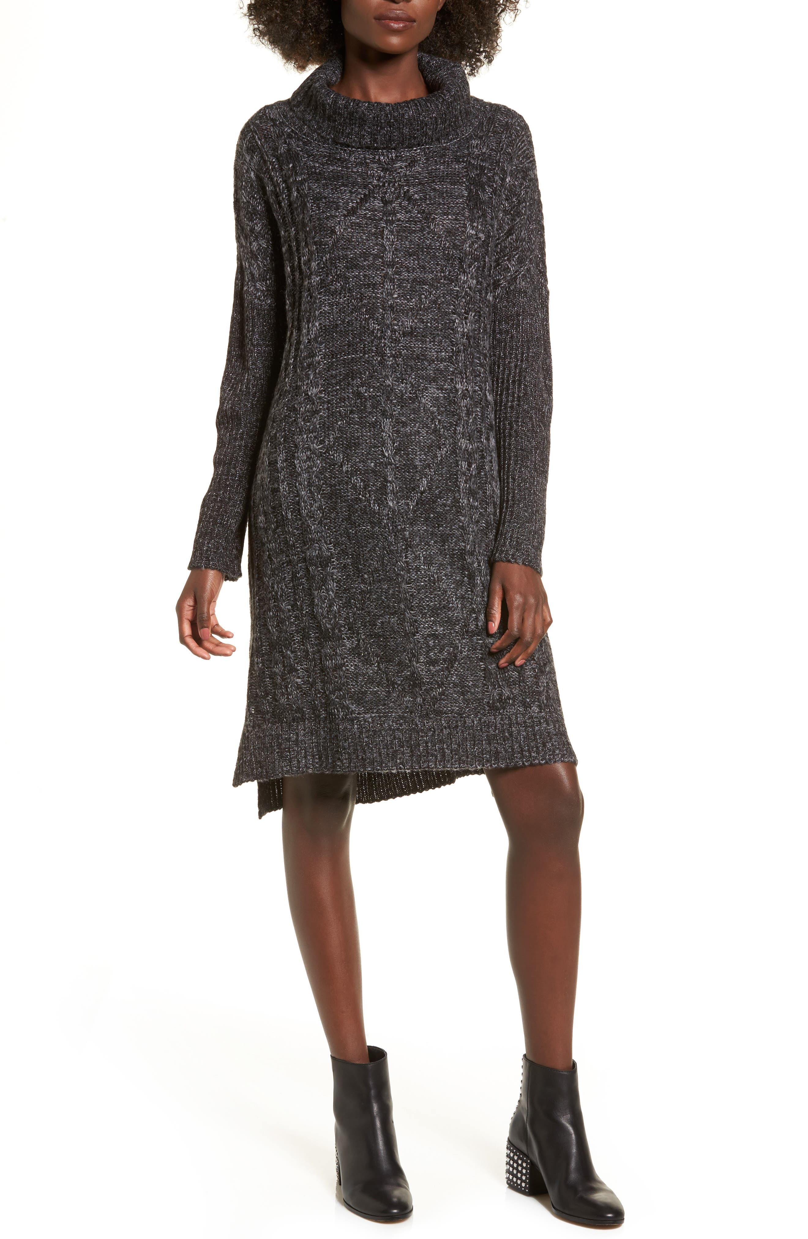 Chunky Turtleneck Sweater Dress,                         Main,                         color, Charcoal