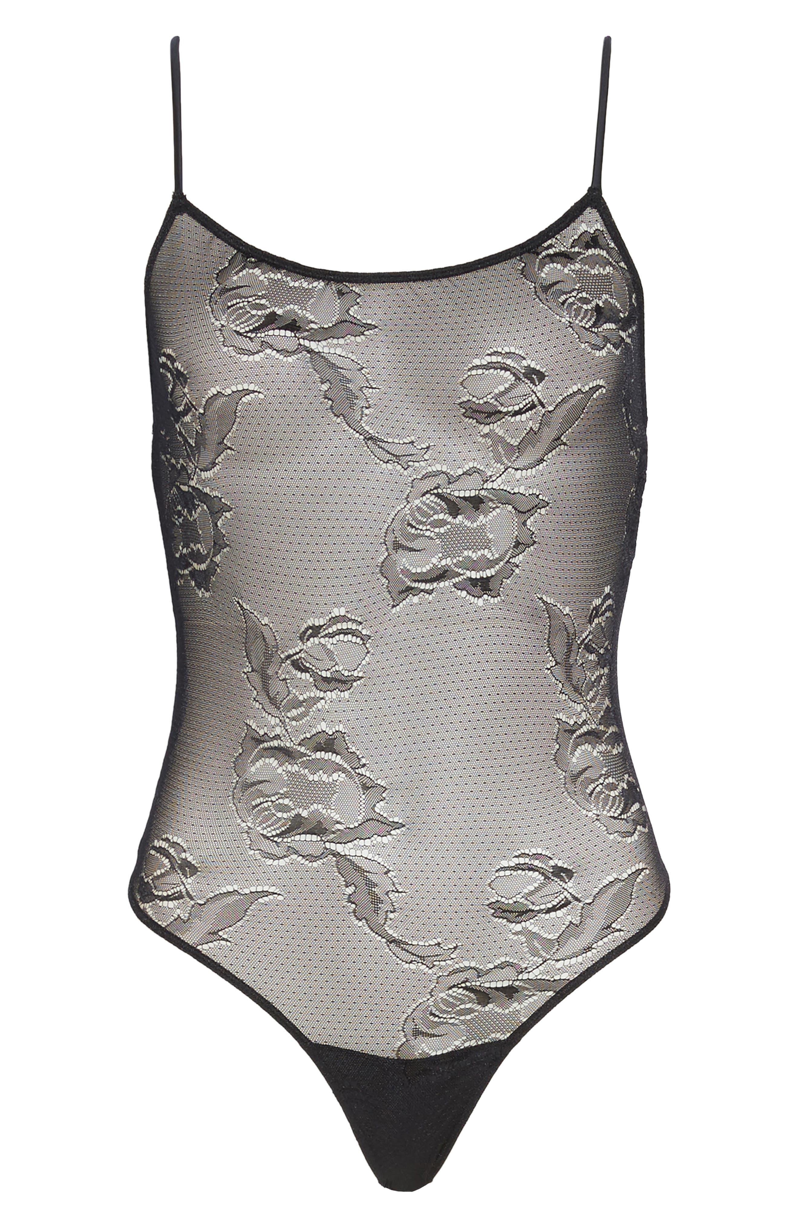 Sierra Thong Bodysuit,                             Alternate thumbnail 4, color,                             Black