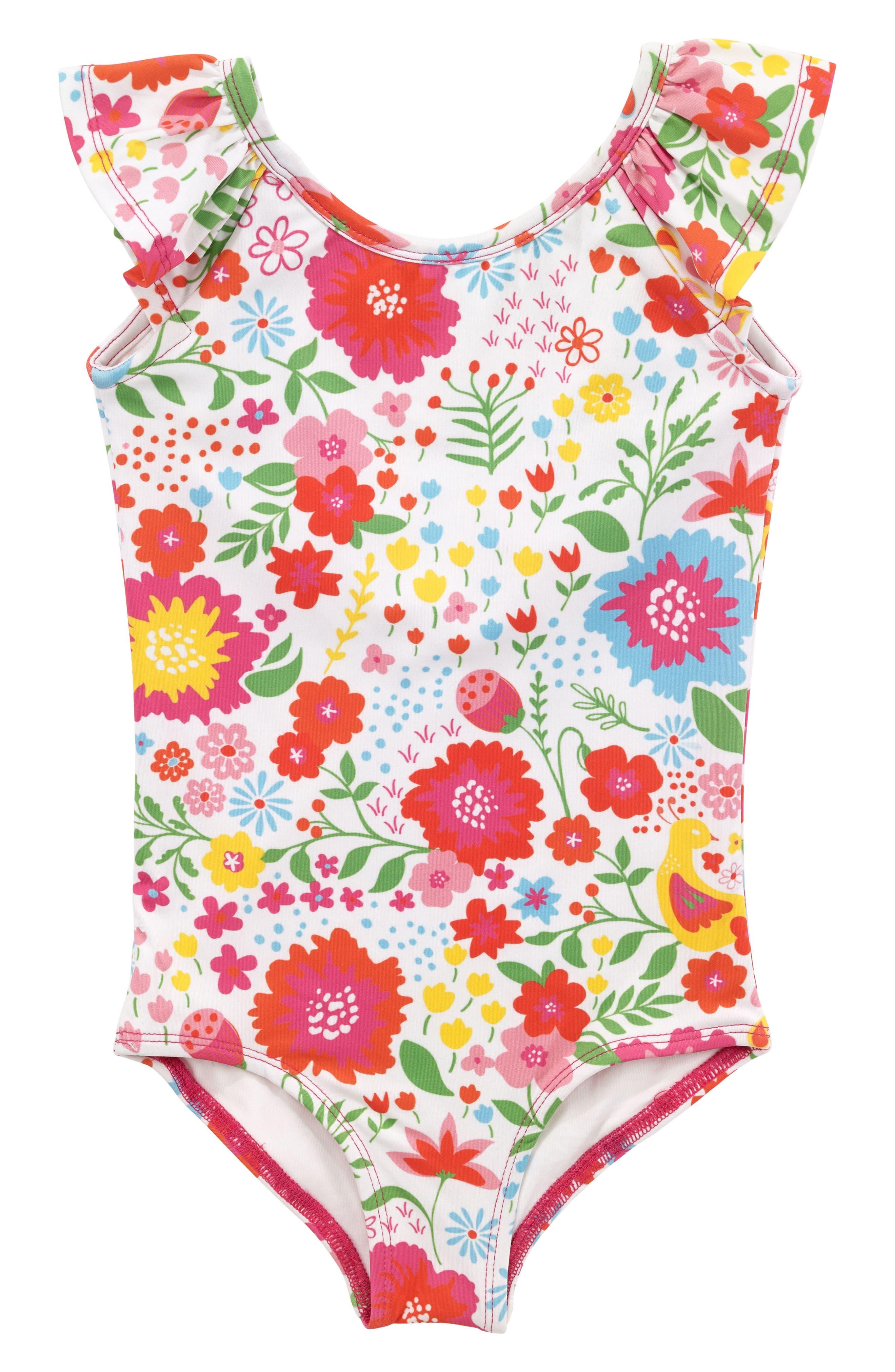 Flutter One-Piece Swimsuit,                             Main thumbnail 1, color,                             Multi