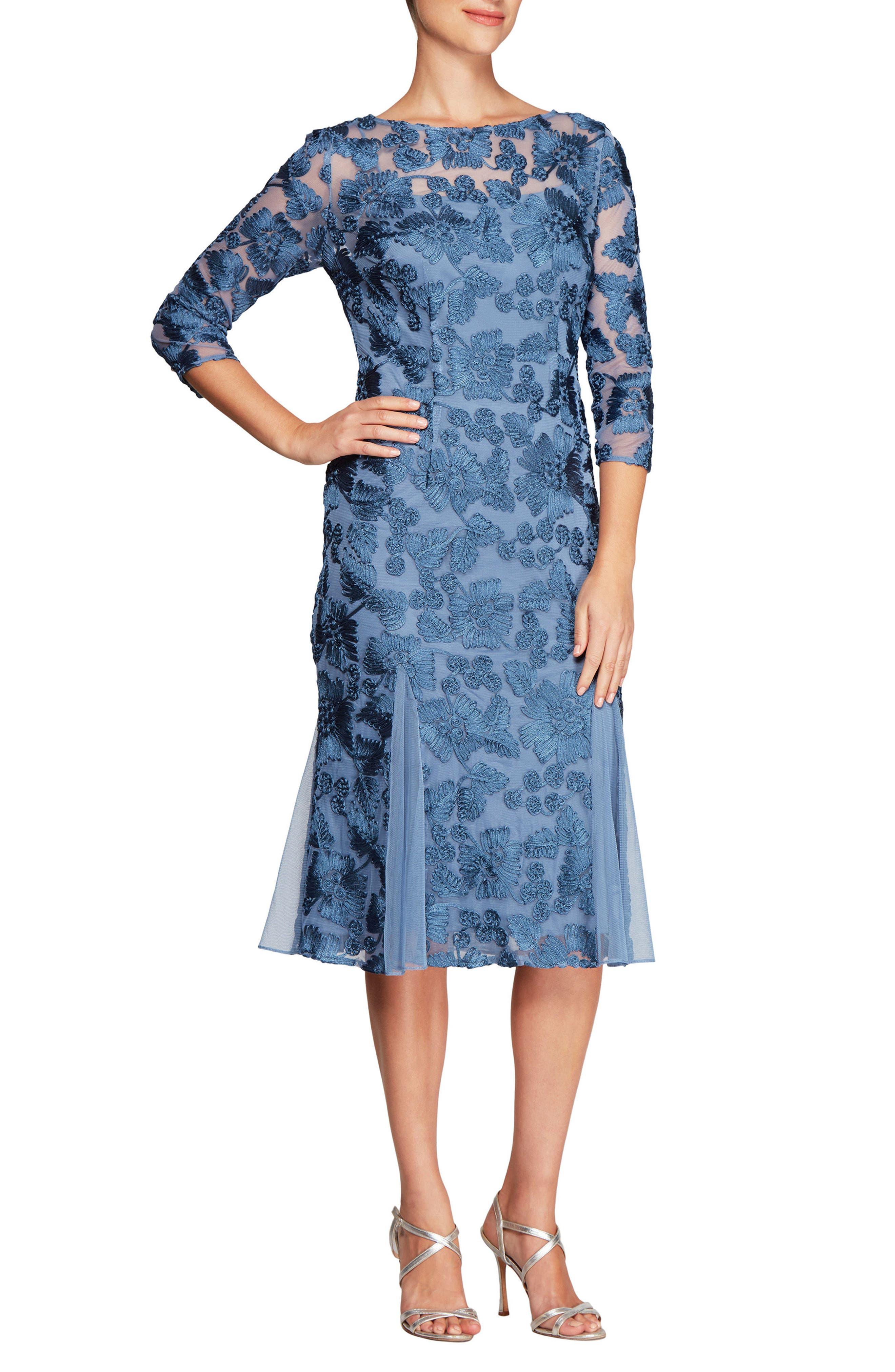 Alex evenings sequin lace bodice chiffon midi dress