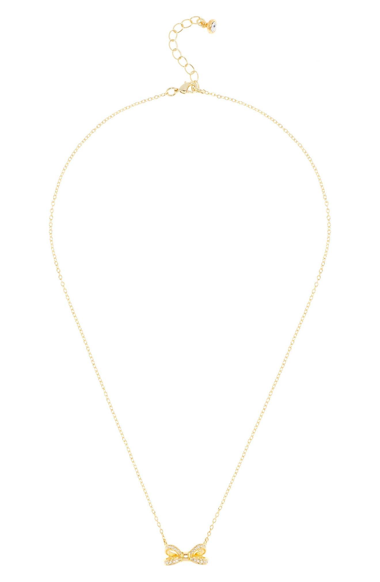Ted Baker London Mini Opulent Pavé Bow Pendant Necklace