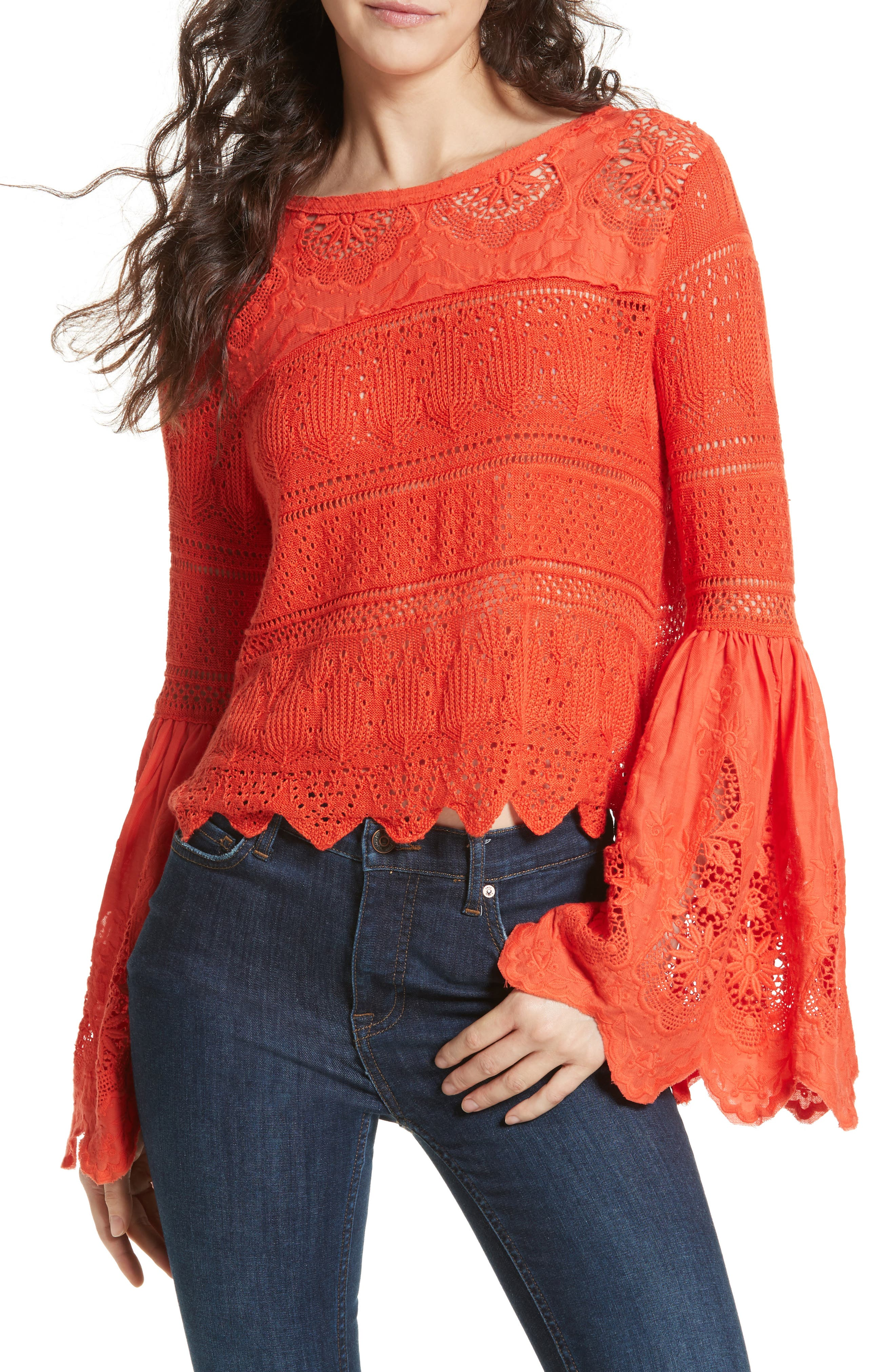 Once Upon a Time Lace Top,                             Main thumbnail 1, color,                             Red
