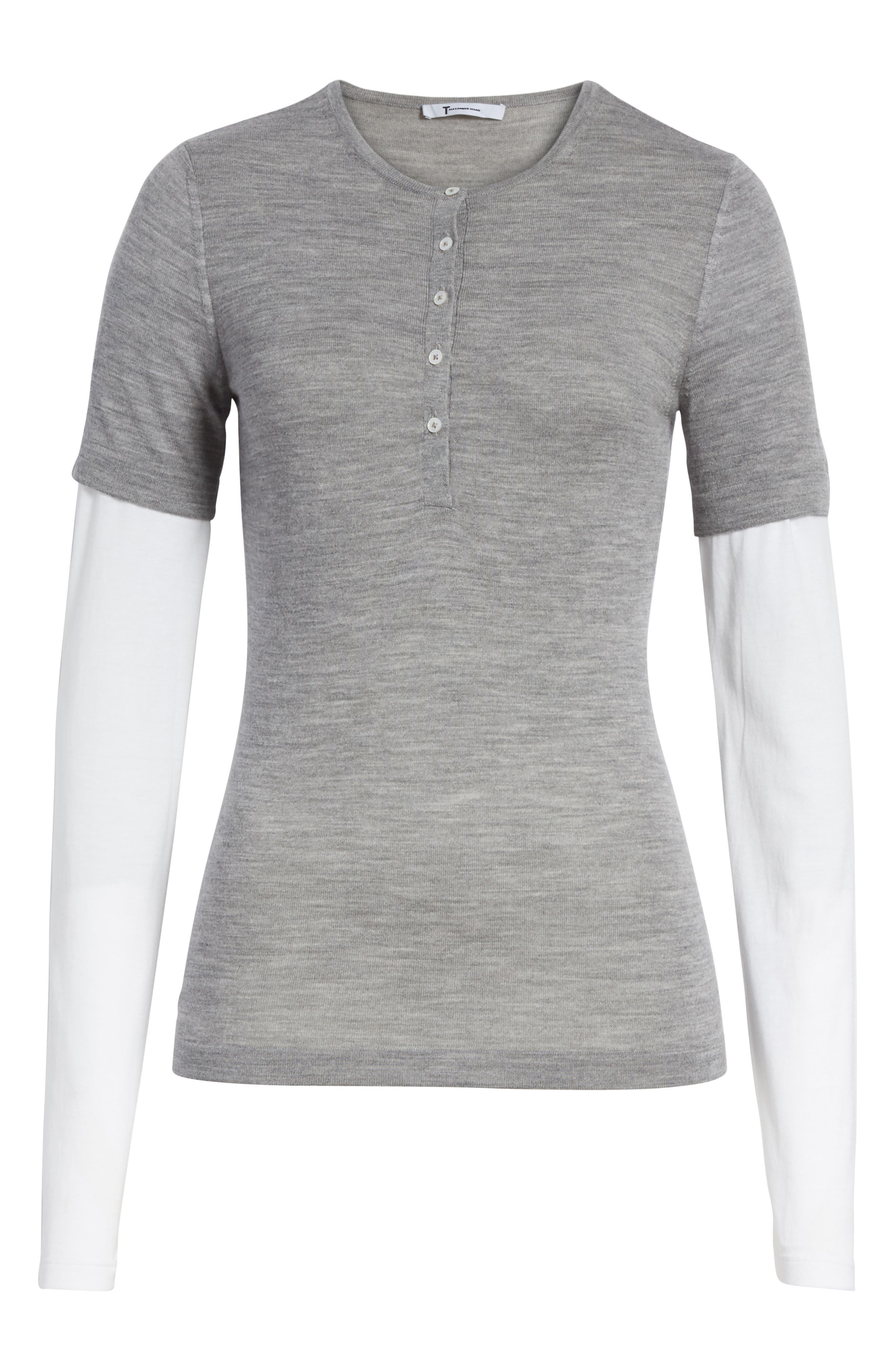 Knit Merino Wool Layered Top,                             Alternate thumbnail 6, color,                             Heather Grey/ White