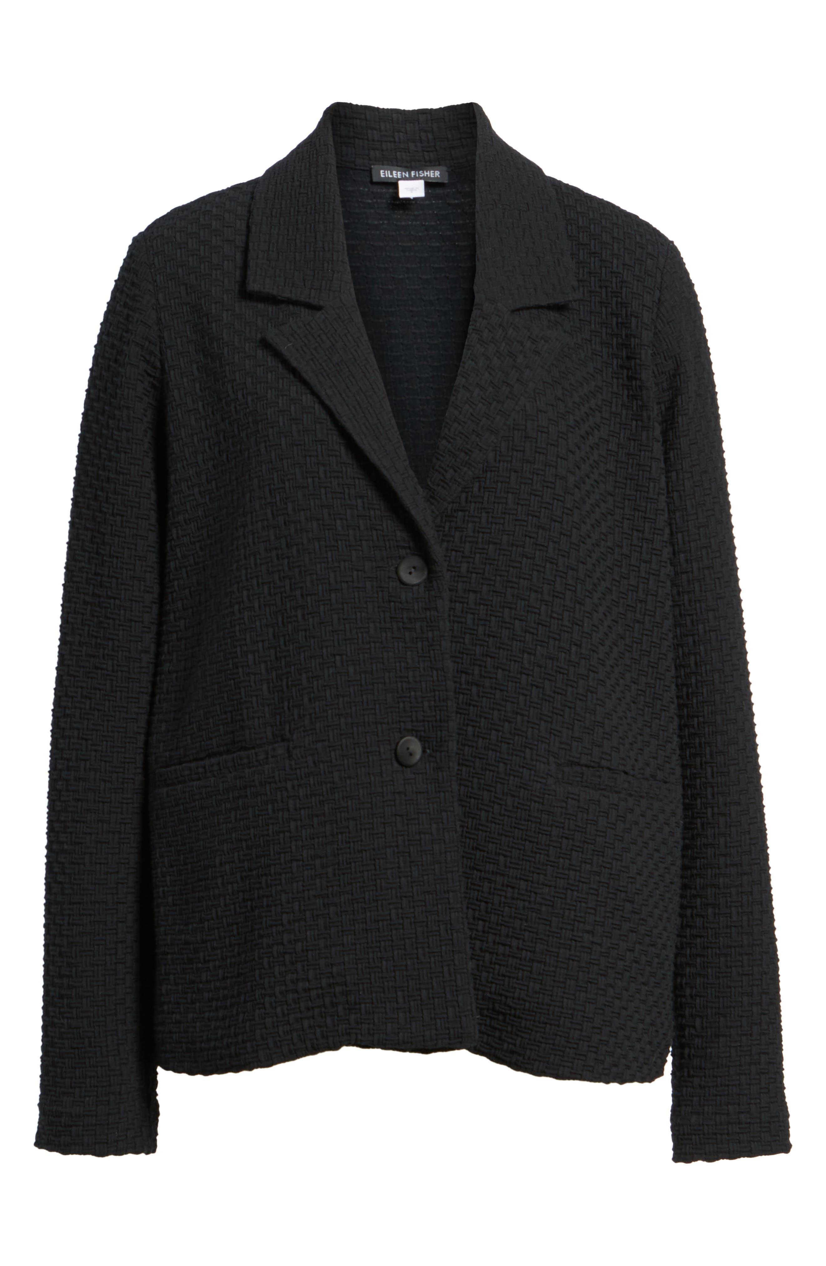 Boxy Jacquard Jacket,                             Alternate thumbnail 6, color,                             Black