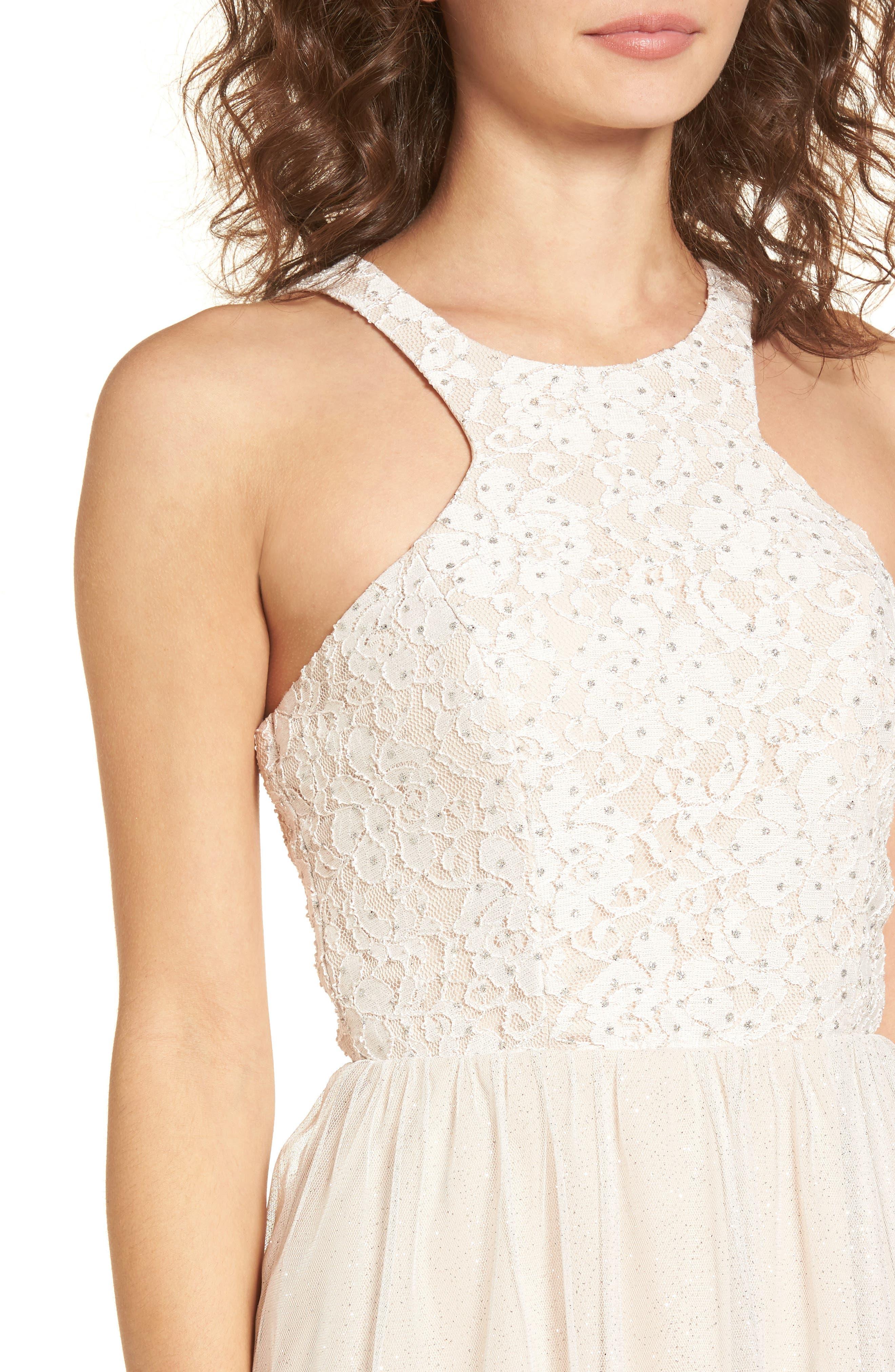 Glitter Tulle Dress,                             Alternate thumbnail 4, color,                             Blush