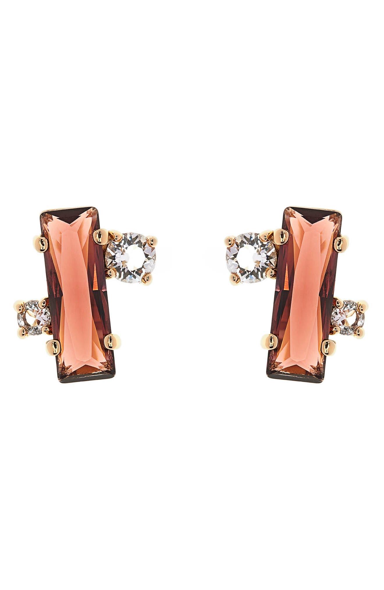 Bria Baguette Cluster Earrings,                             Main thumbnail 1, color,                             Oxblood