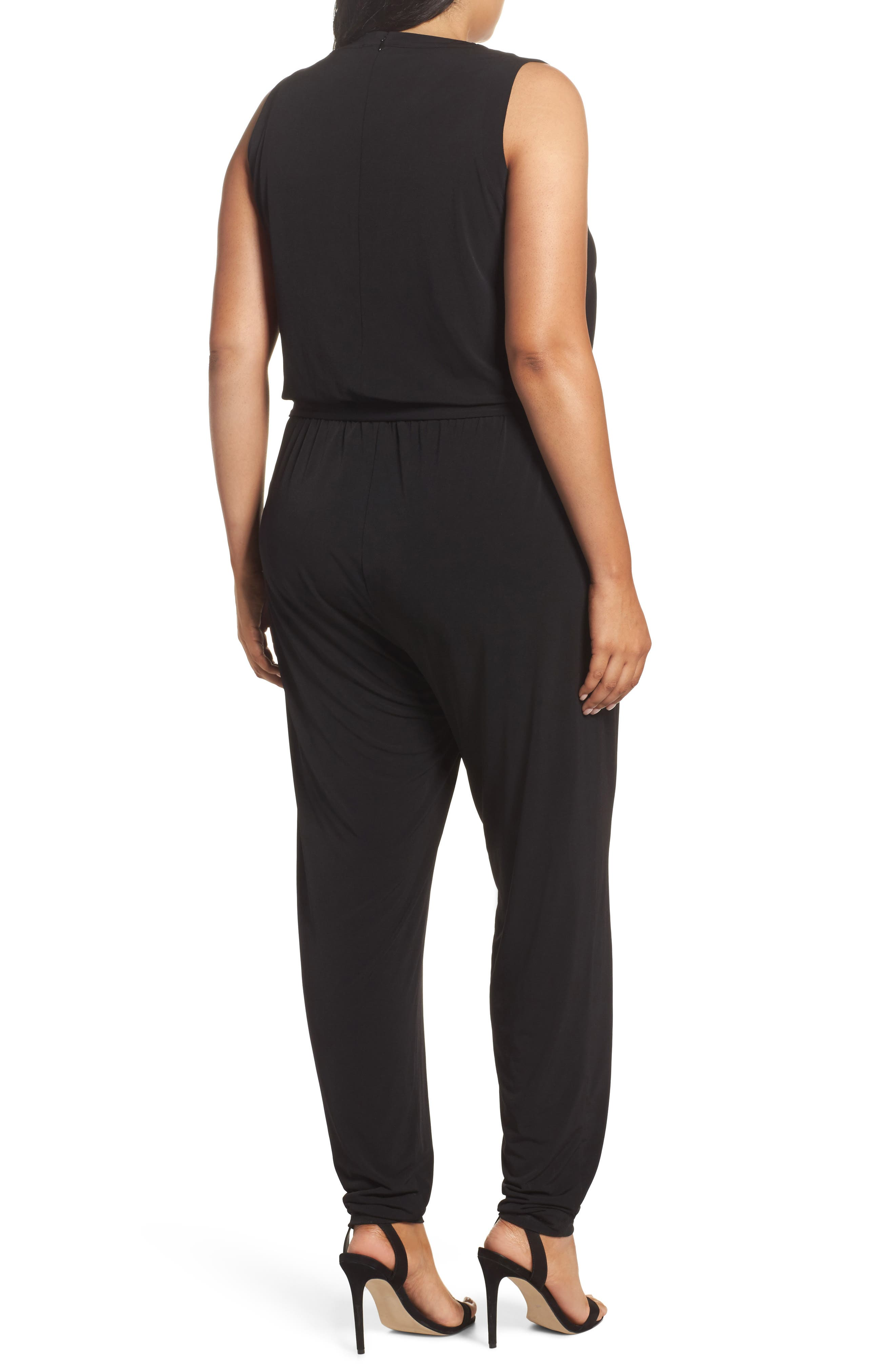 Lace-Up Sleeveless Jumpsuit,                             Alternate thumbnail 2, color,                             Black