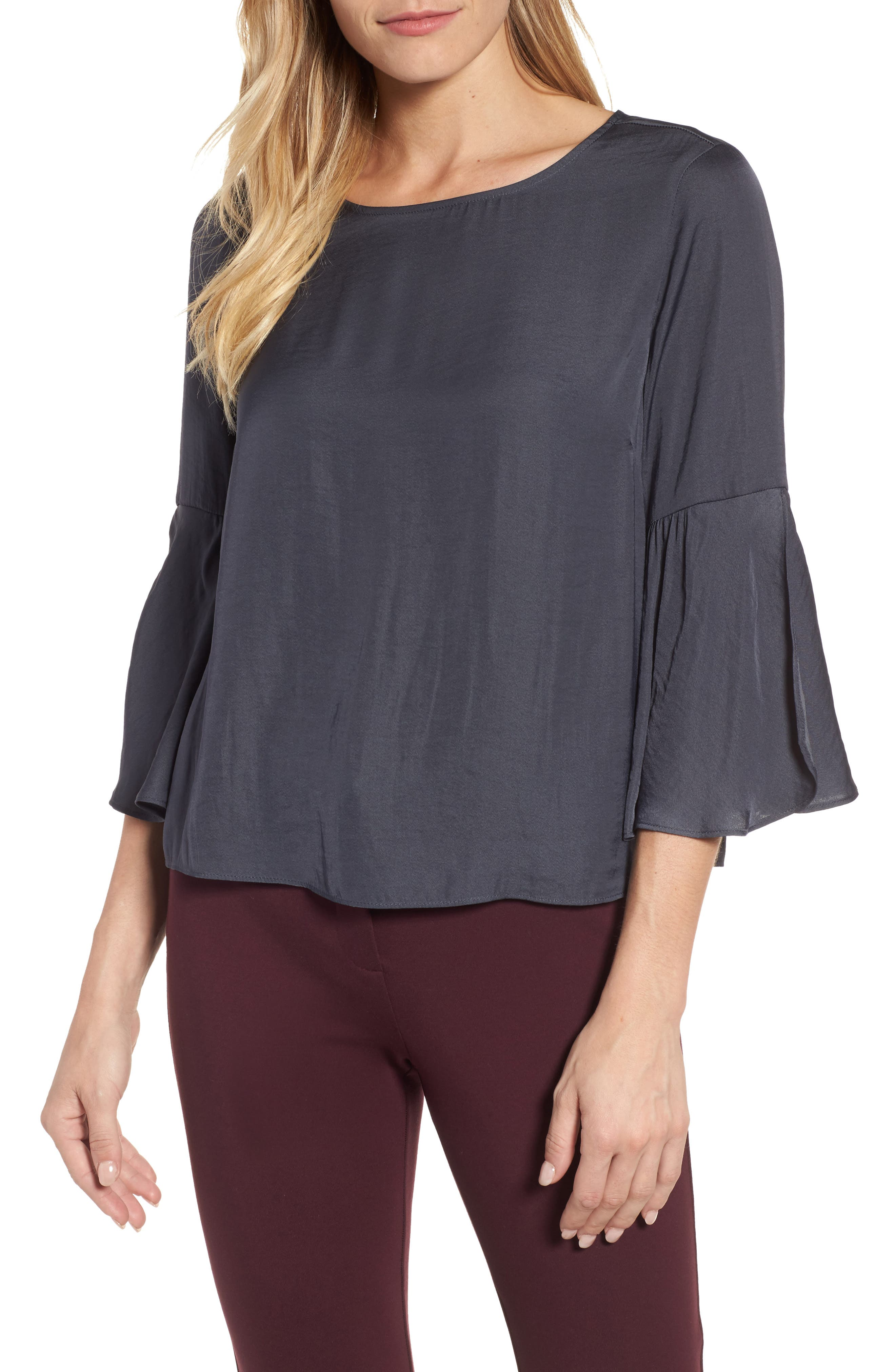 Alternate Image 1 Selected - Vince Camuto Hammer Satin Bell Sleeve Blouse