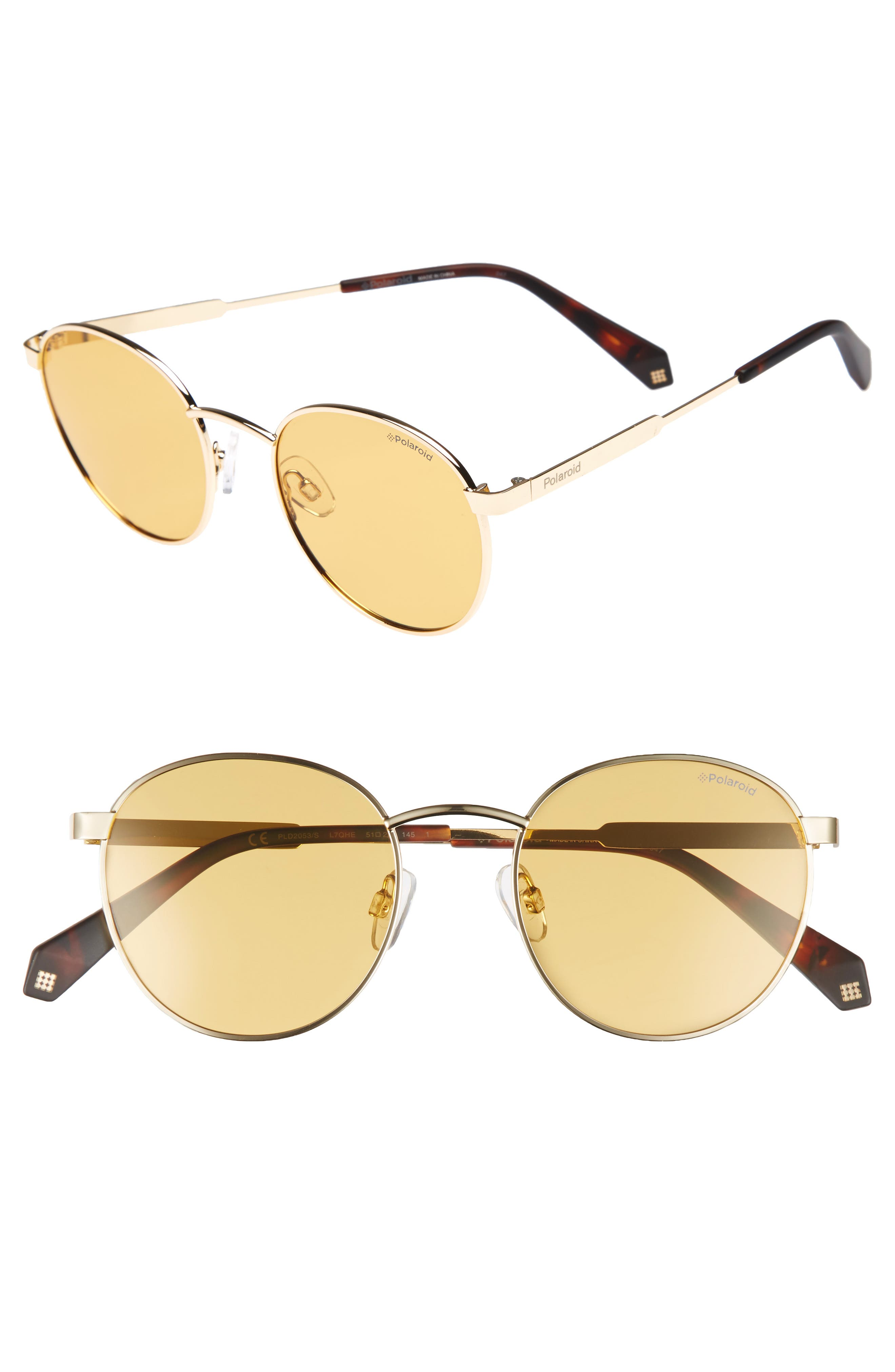 Polaroid 51mm Round Retro Polarized Sunglasses