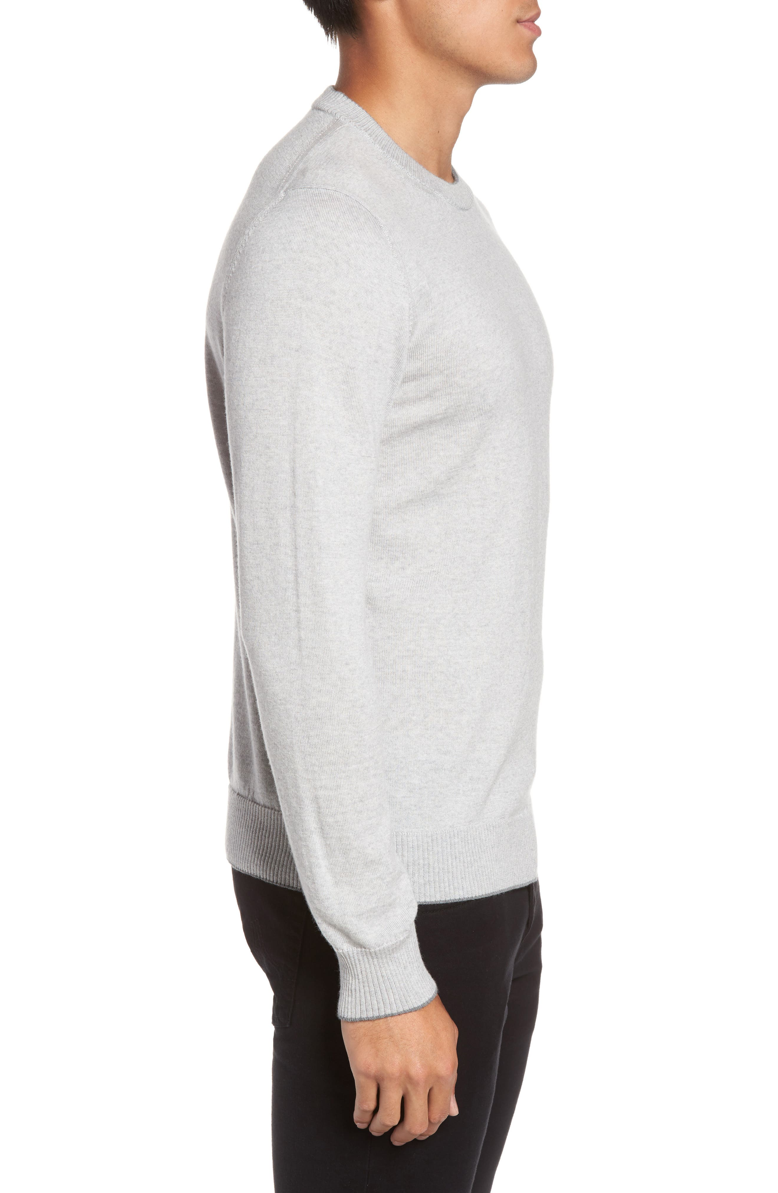 Virgin Wool Crewneck Sweater,                             Alternate thumbnail 3, color,                             Light Grey