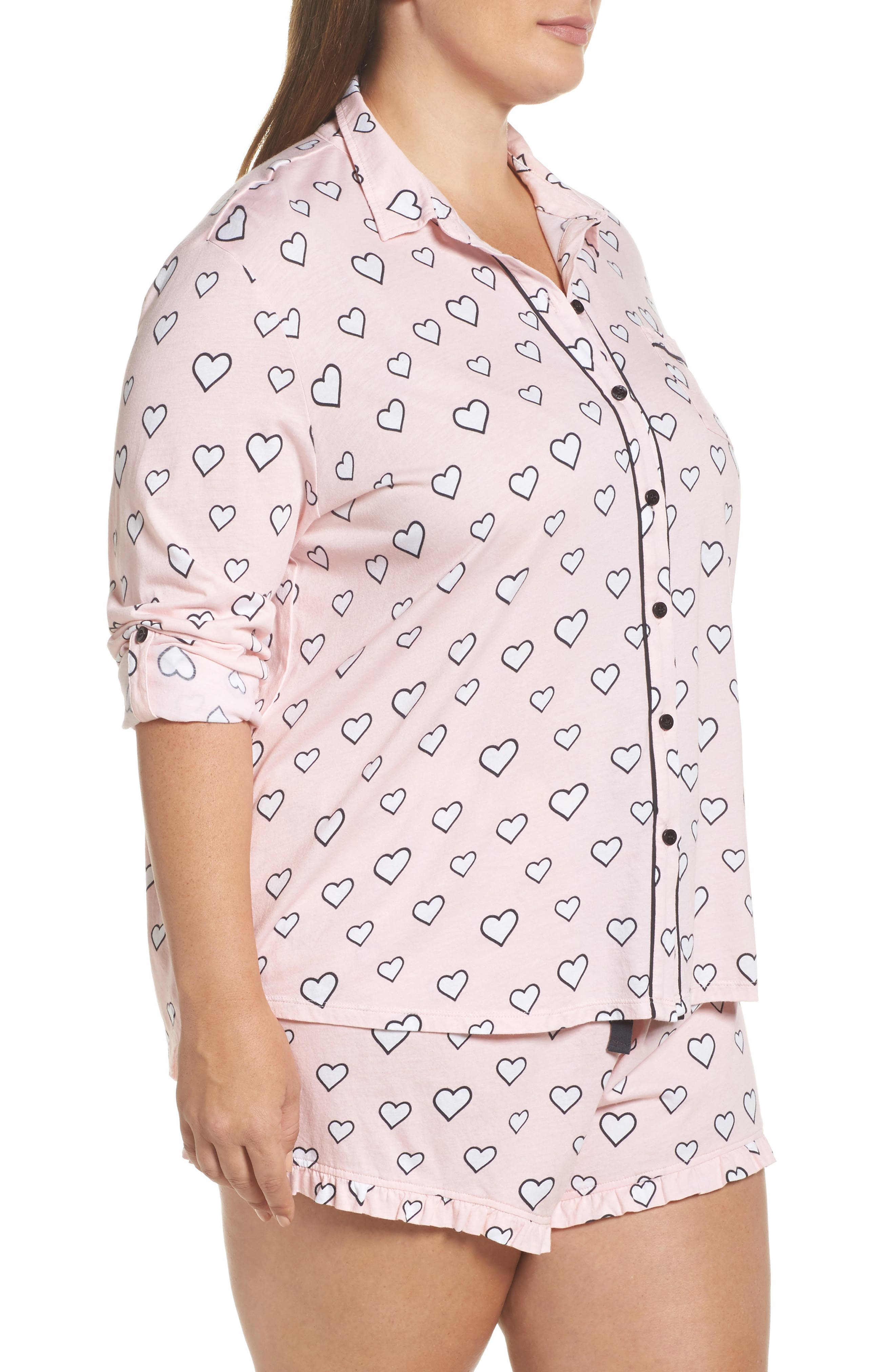 Alternate Image 3  - PJ Salvage Heart Print Short Pajamas (Plus Size)