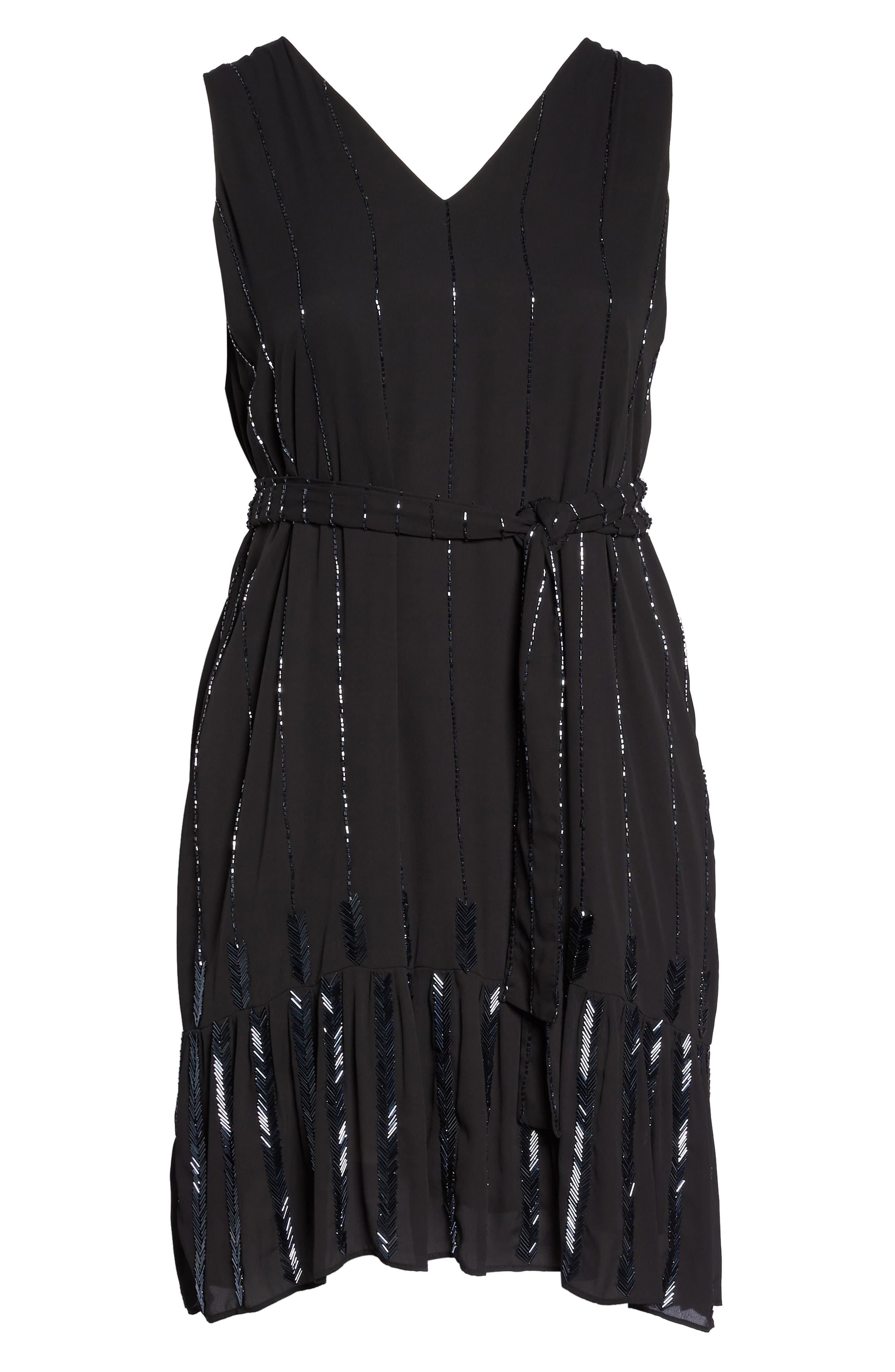 Beaded A-Line Dress,                             Alternate thumbnail 7, color,                             Black