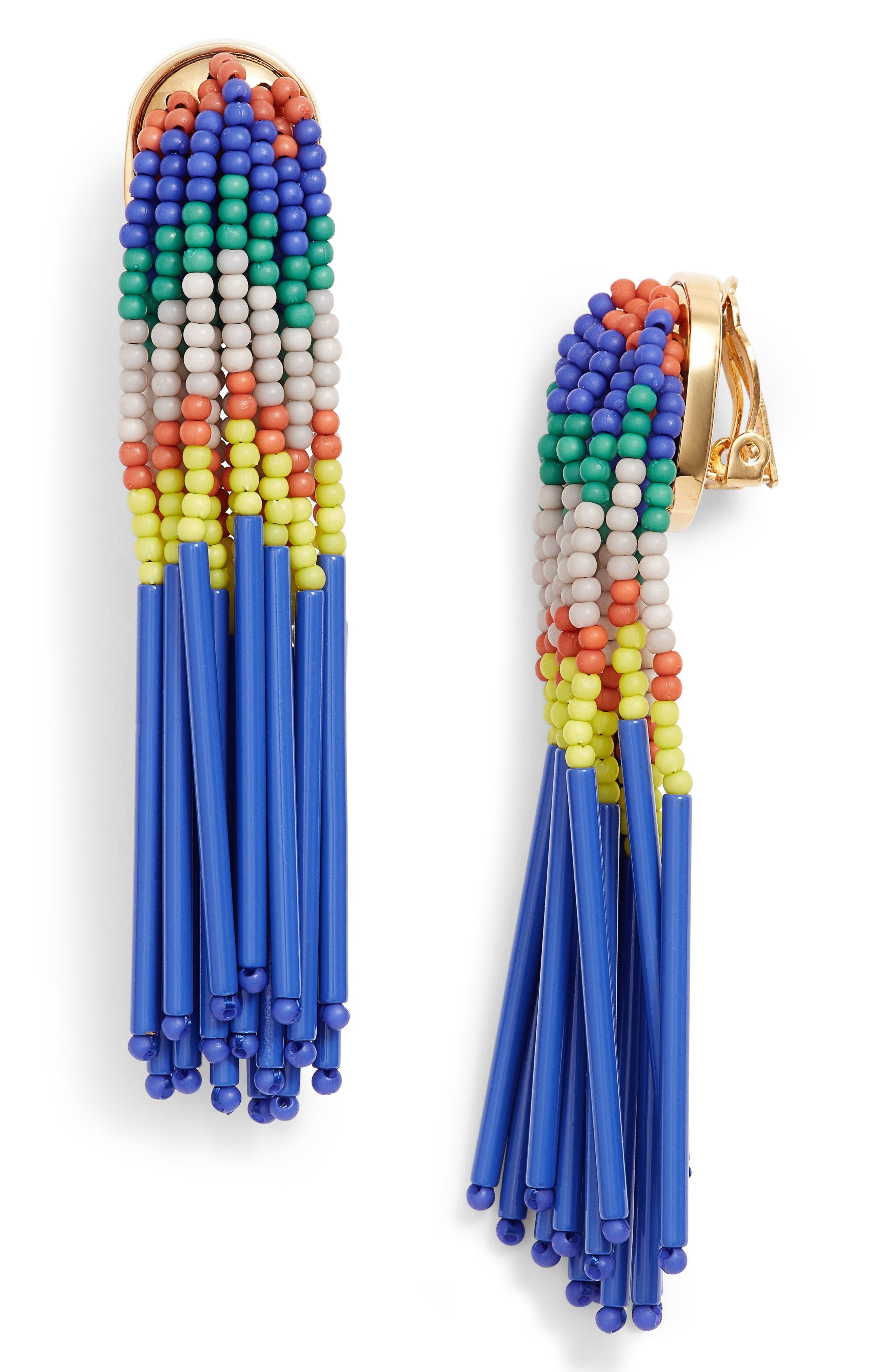 Lele Sadoughi Striped Bead Fringe Clip-On Earrings E9cpY