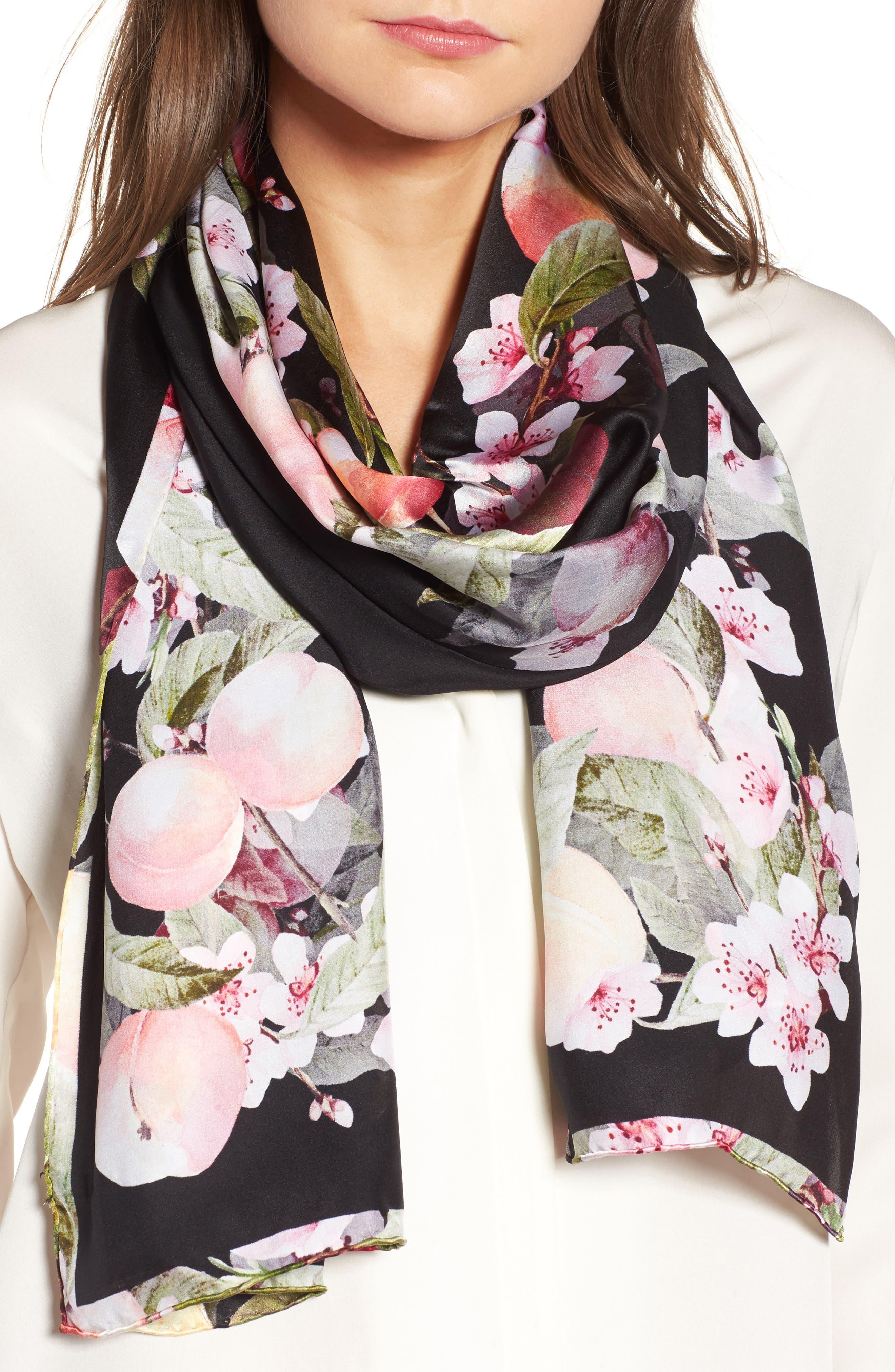 Peach Blossom Silk Scarf,                         Main,                         color, 00-Black