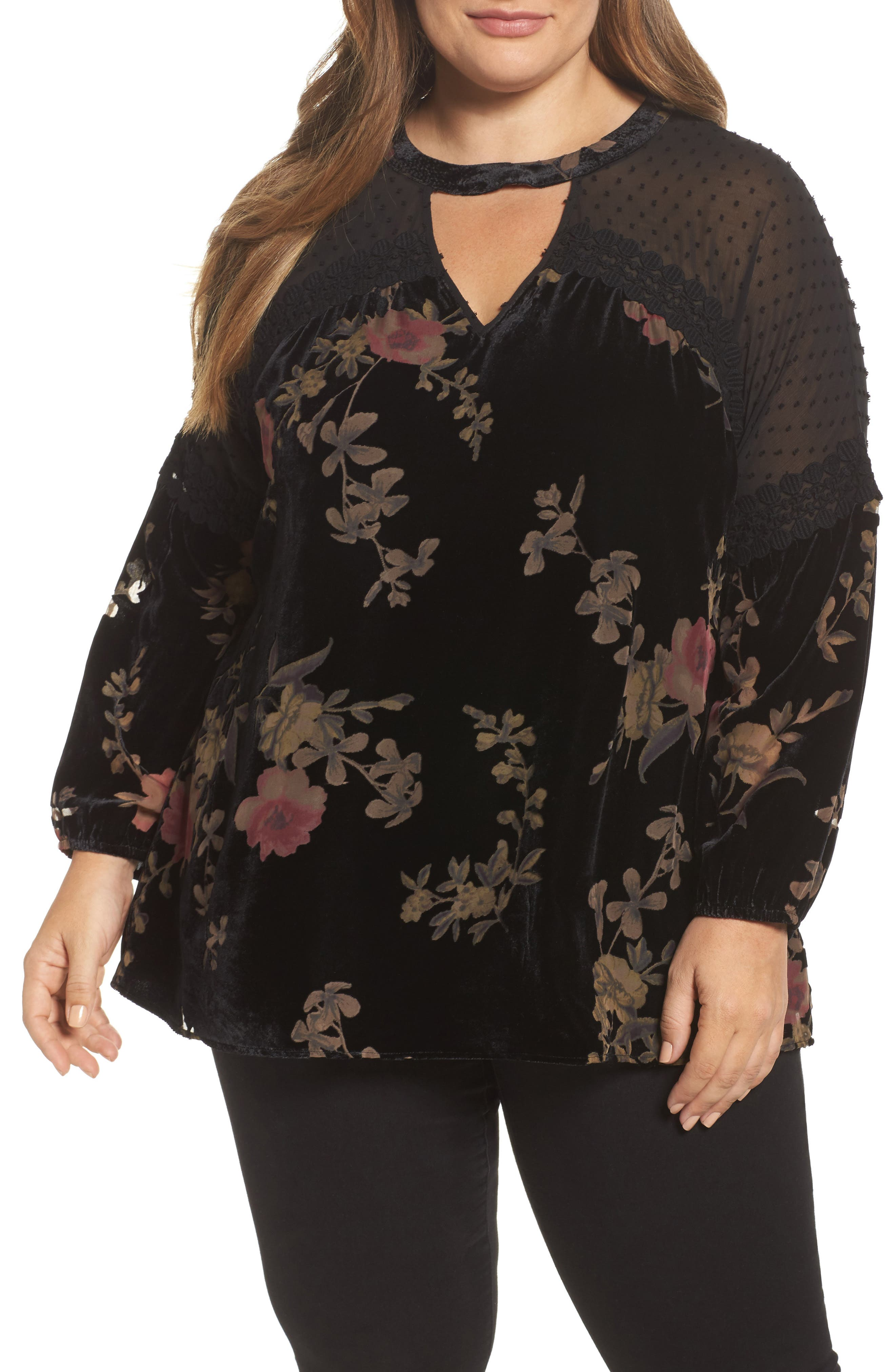 Daniel Rainn Mock Choker Neck Velvet Burnout Top (Plus Size)