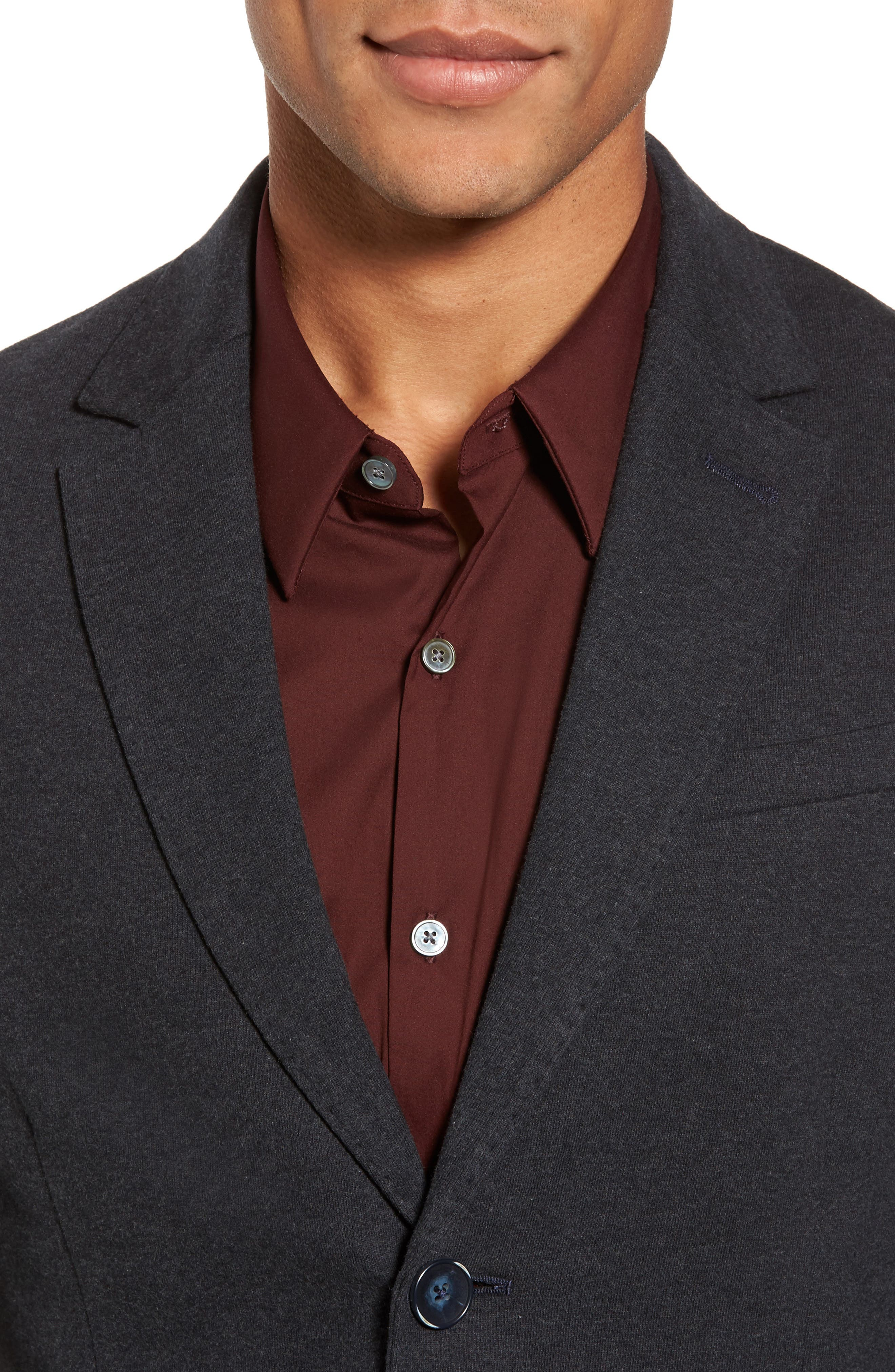 Tailored Jersey Jacket,                             Alternate thumbnail 4, color,                             Heather Dark Navy