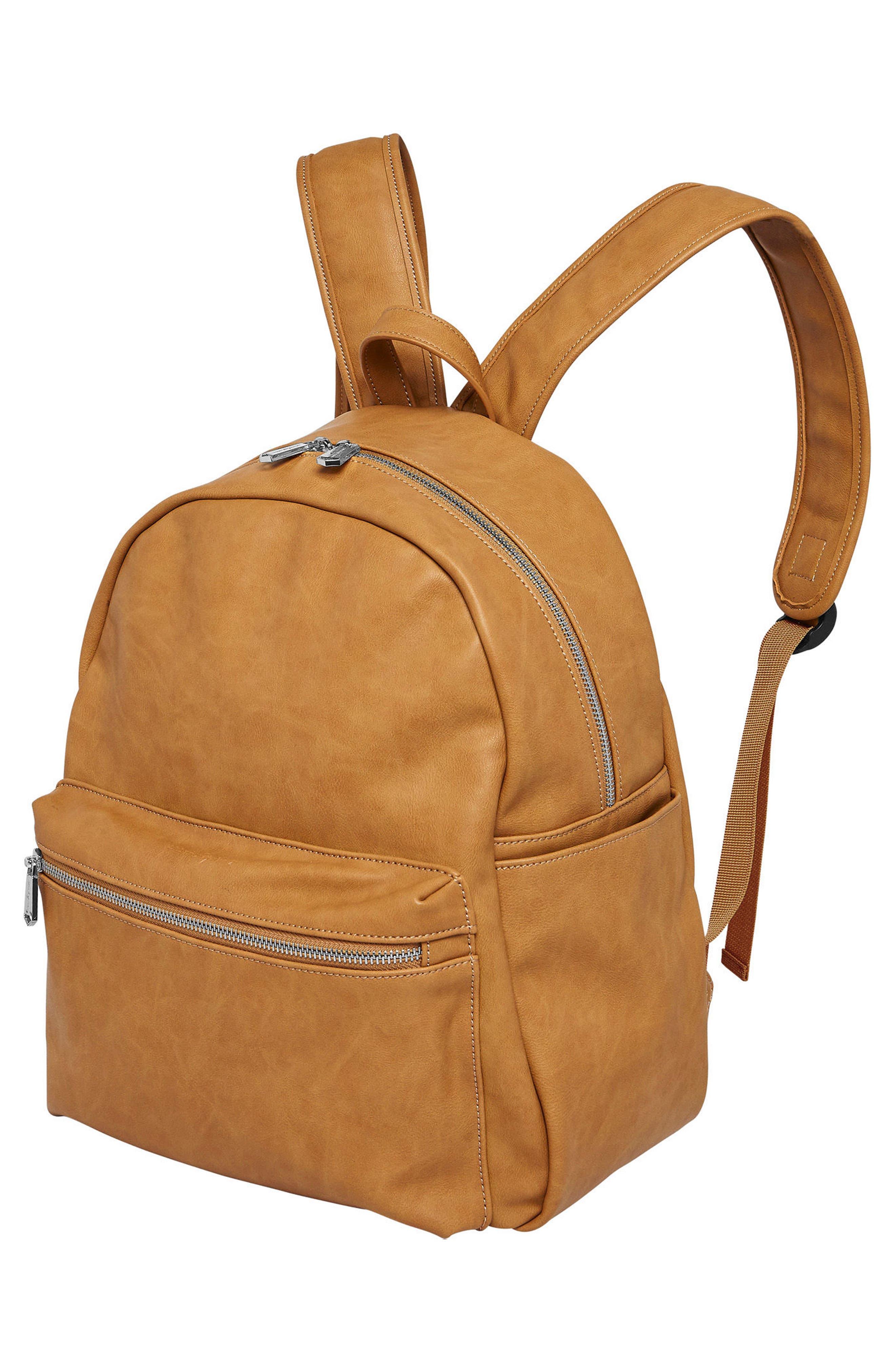 Practical Vegan Leather Backpack,                             Alternate thumbnail 4, color,                             Camel