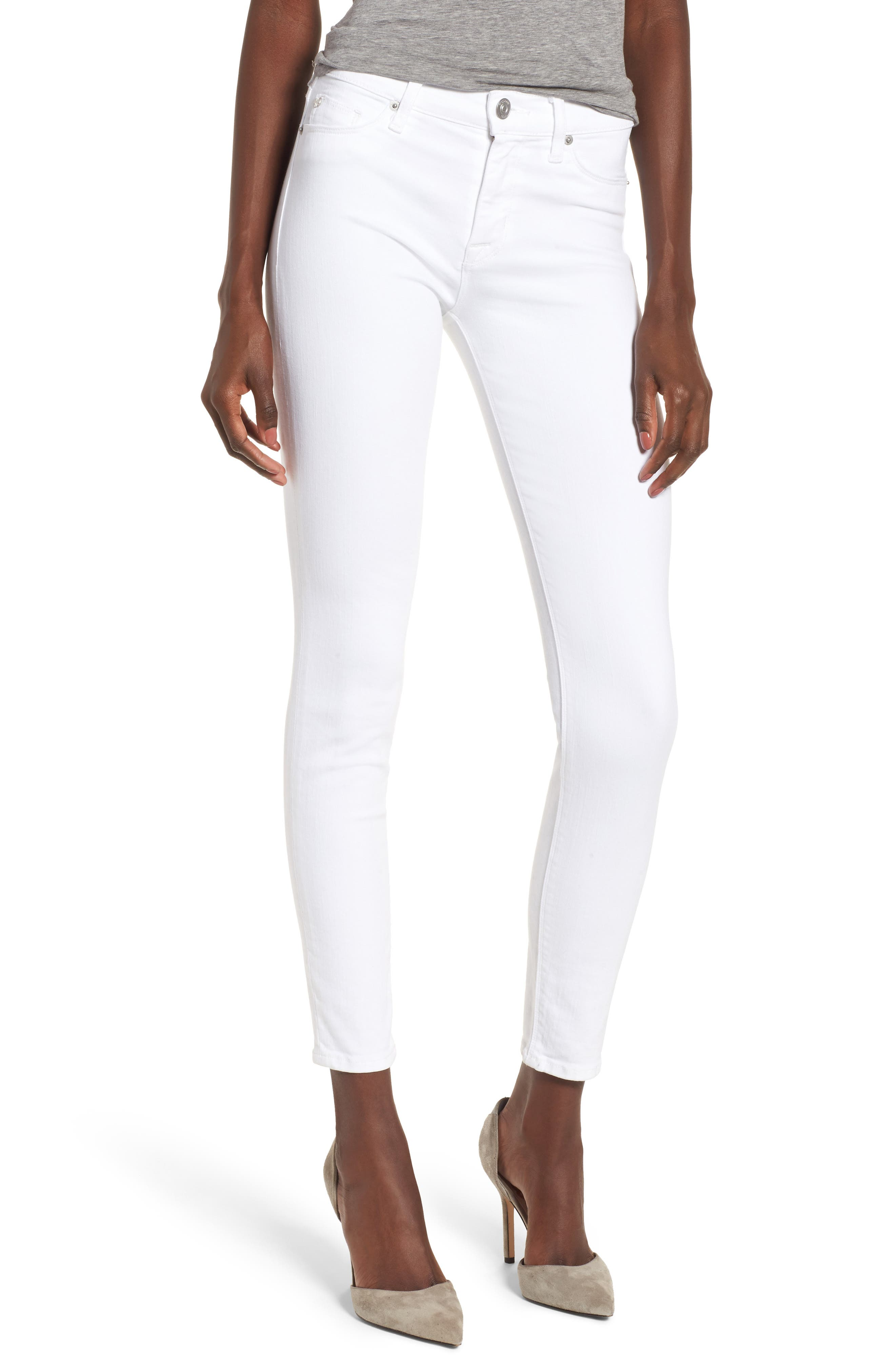 Hudson Jeans Nico Ankle Super Skinny Jeans (Optical White)