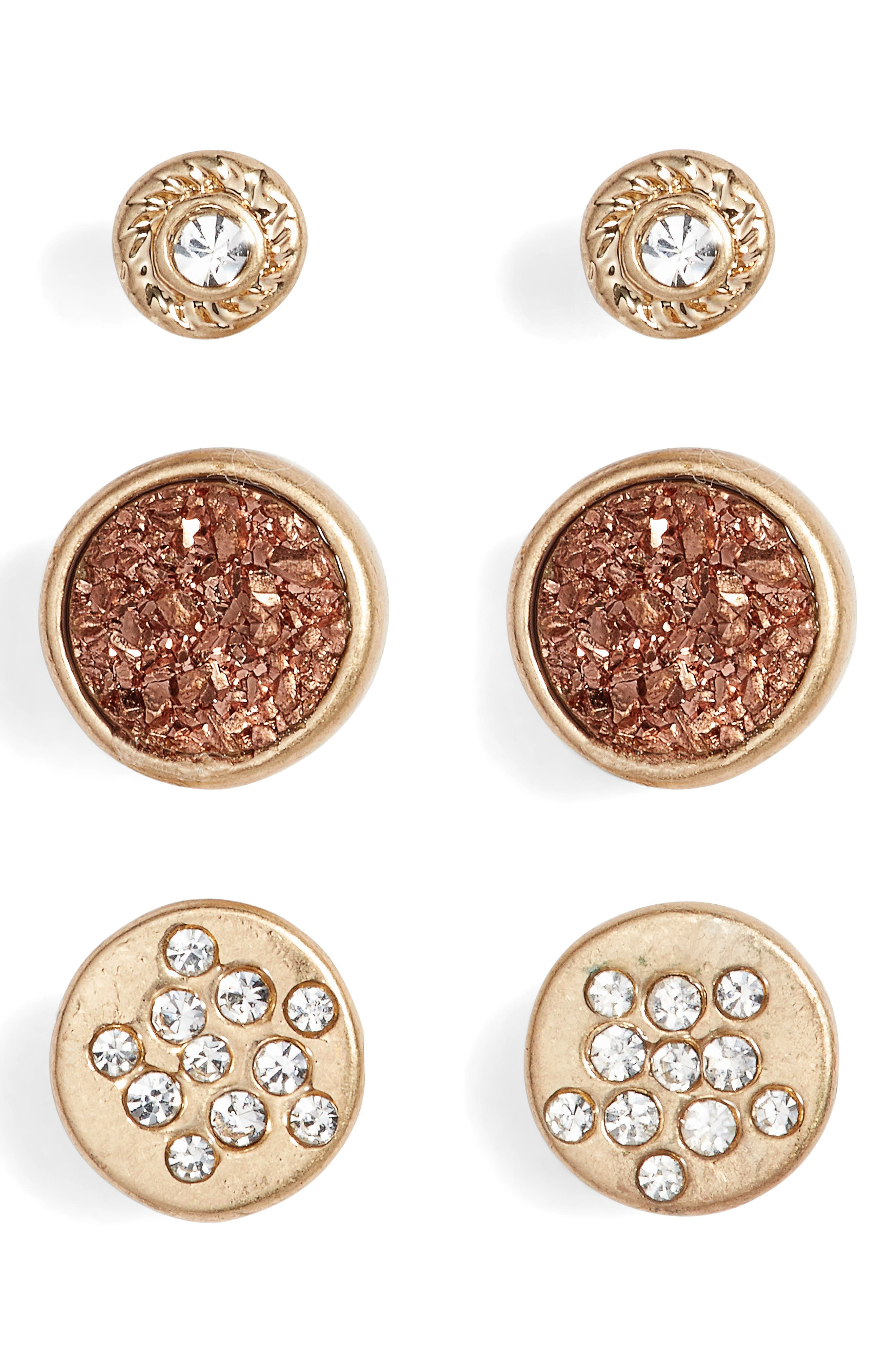 Set of 3 Stud Earrings,                         Main,                         color, Clear- Rose Gold- Gold