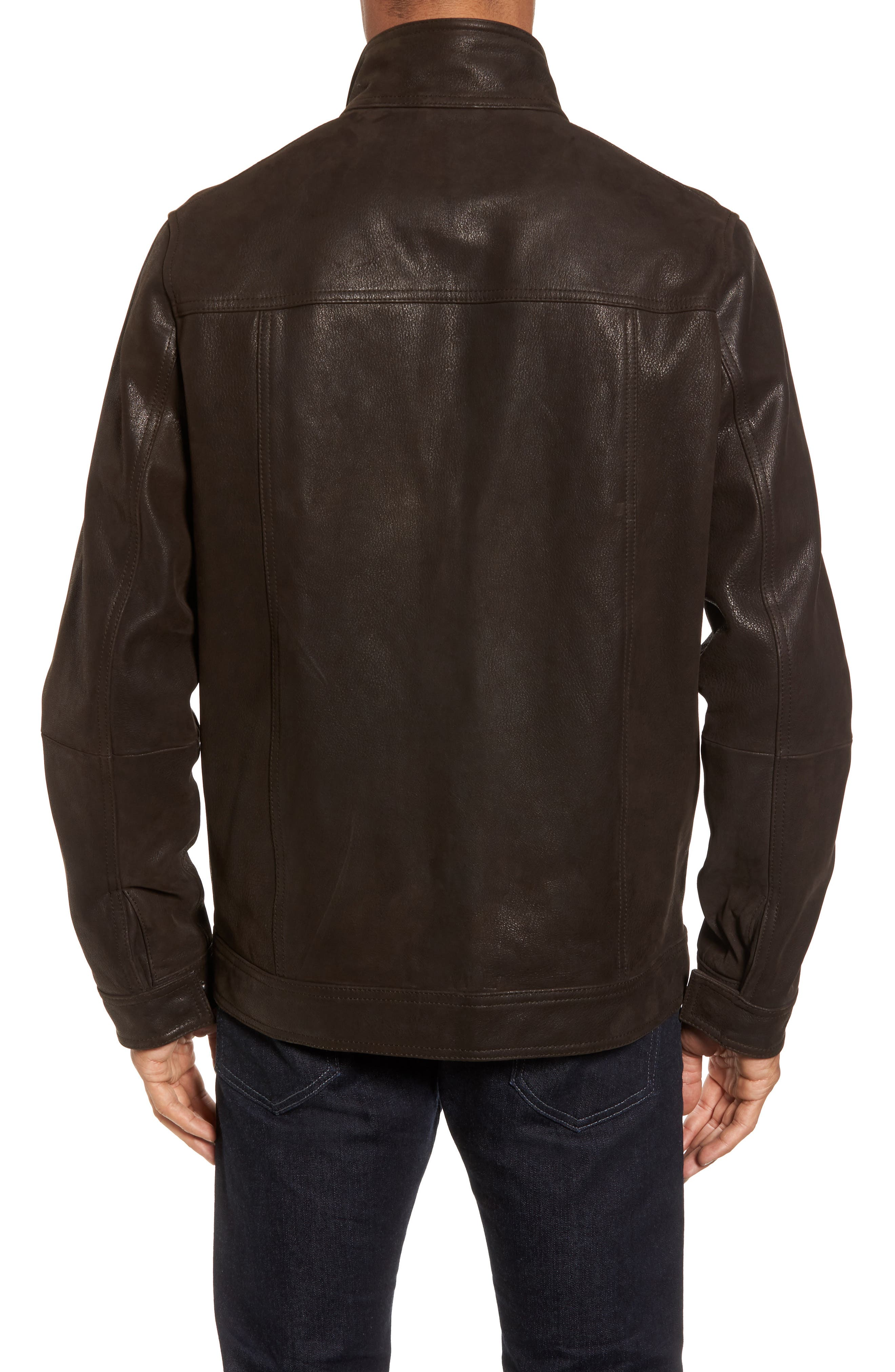 Westhaven Distressed Leather Bomber Jacket,                             Alternate thumbnail 2, color,                             Chocolate