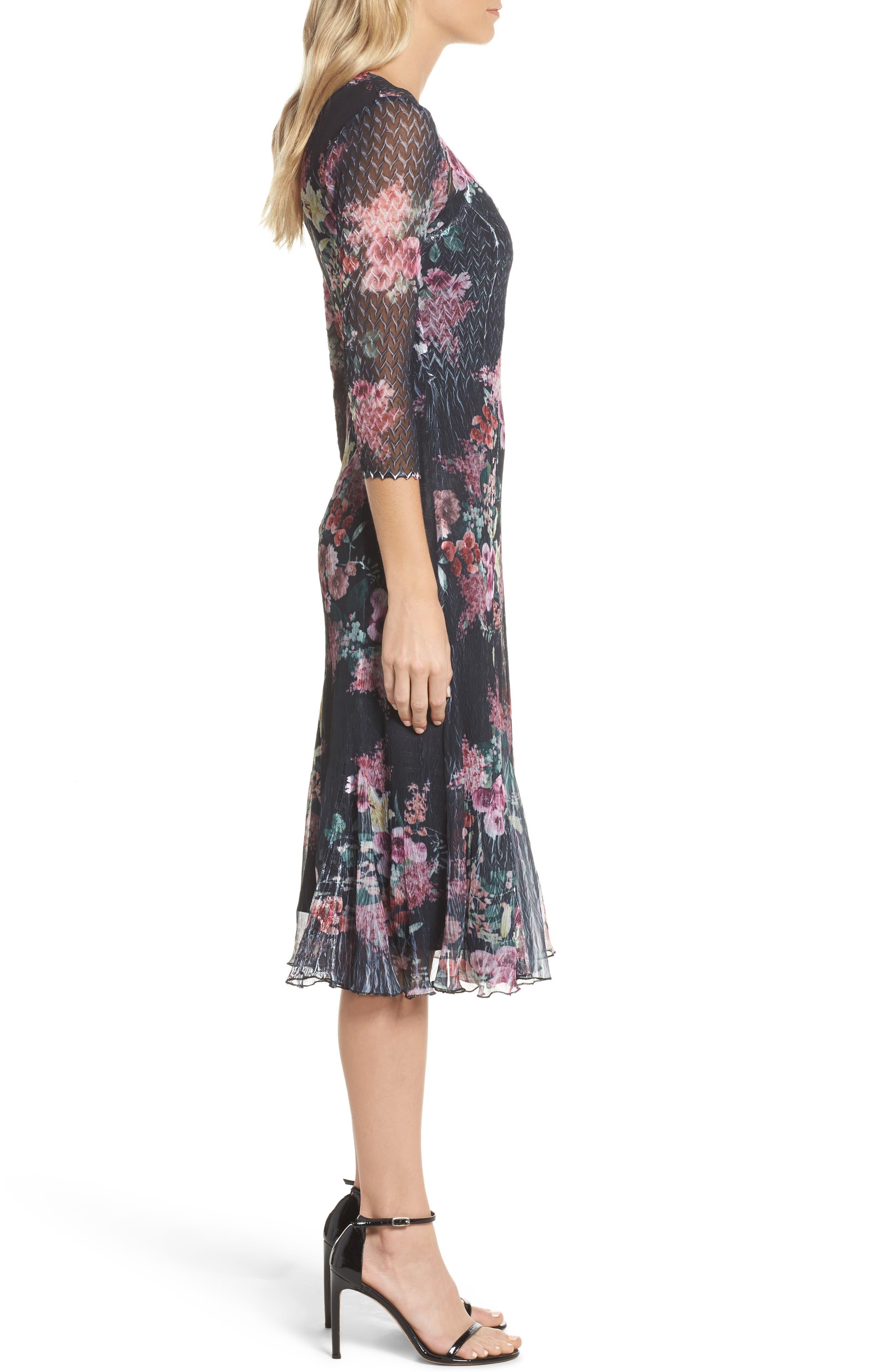 Floral A-Line Dress,                             Alternate thumbnail 3, color,                             Evening Garden