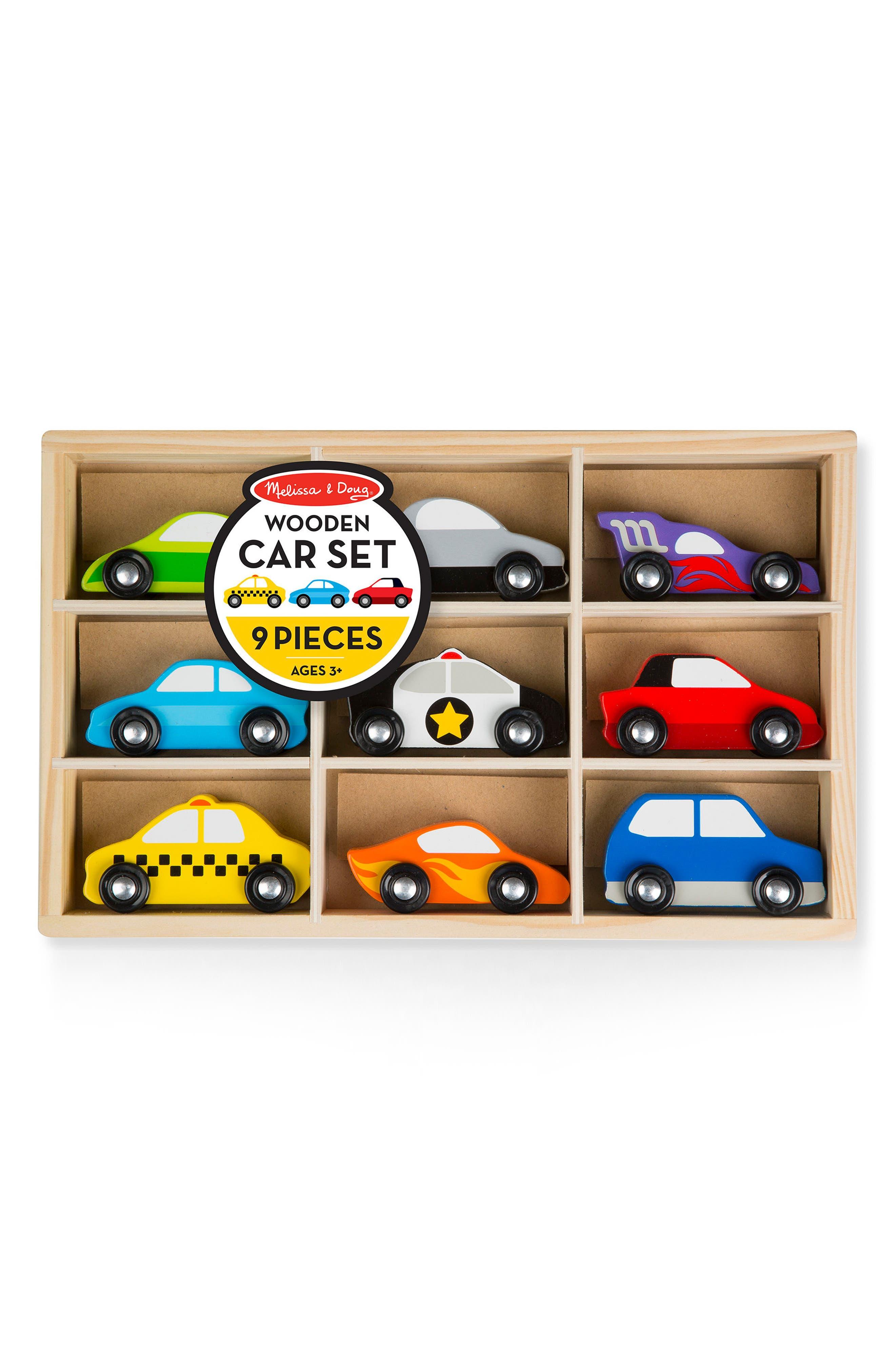 Melissa & Doug 9-Piece Wooden Town Vehicles Play Set