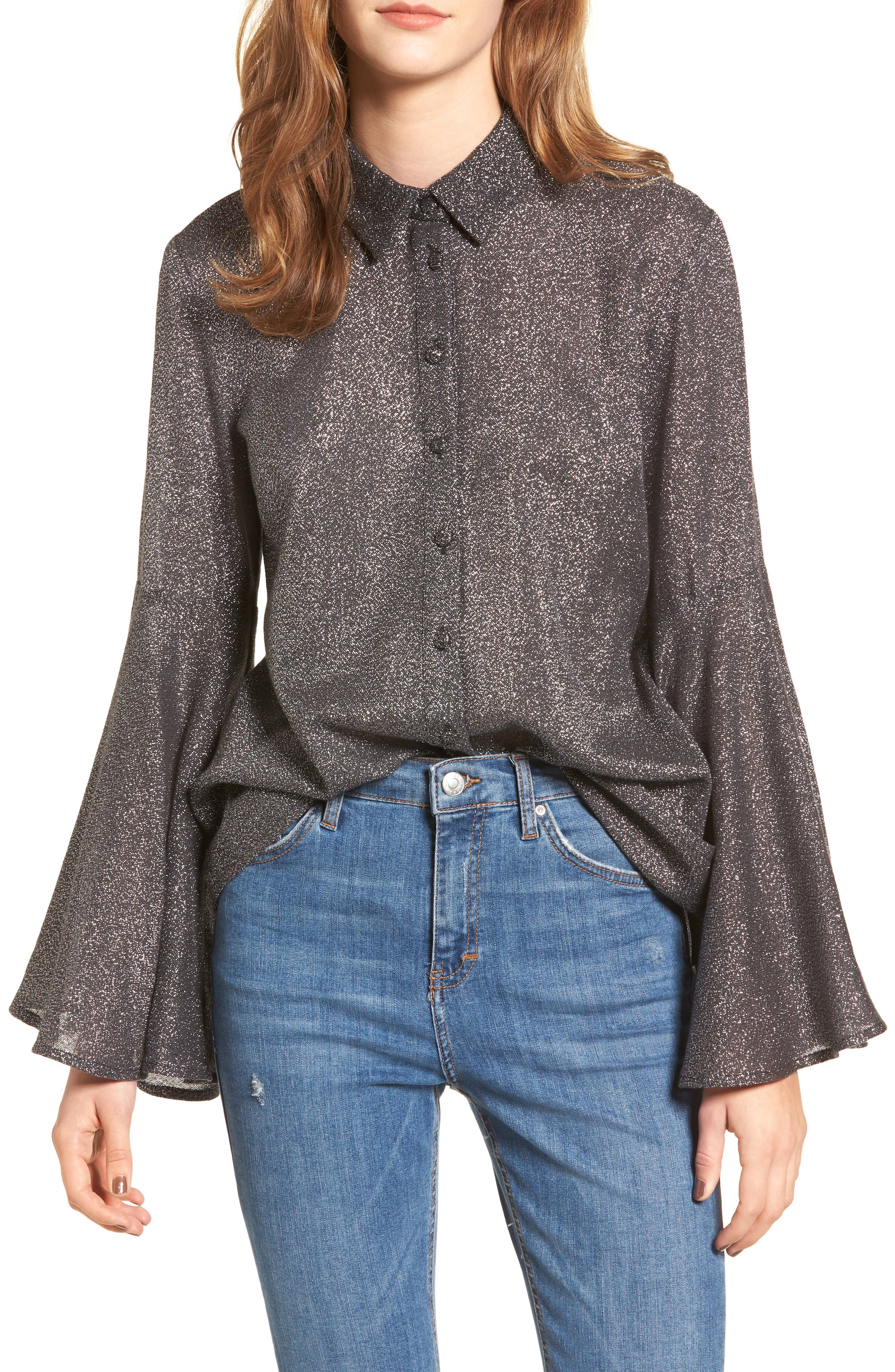 Sparkly Bell Sleeve Shirt,                         Main,                         color, Black