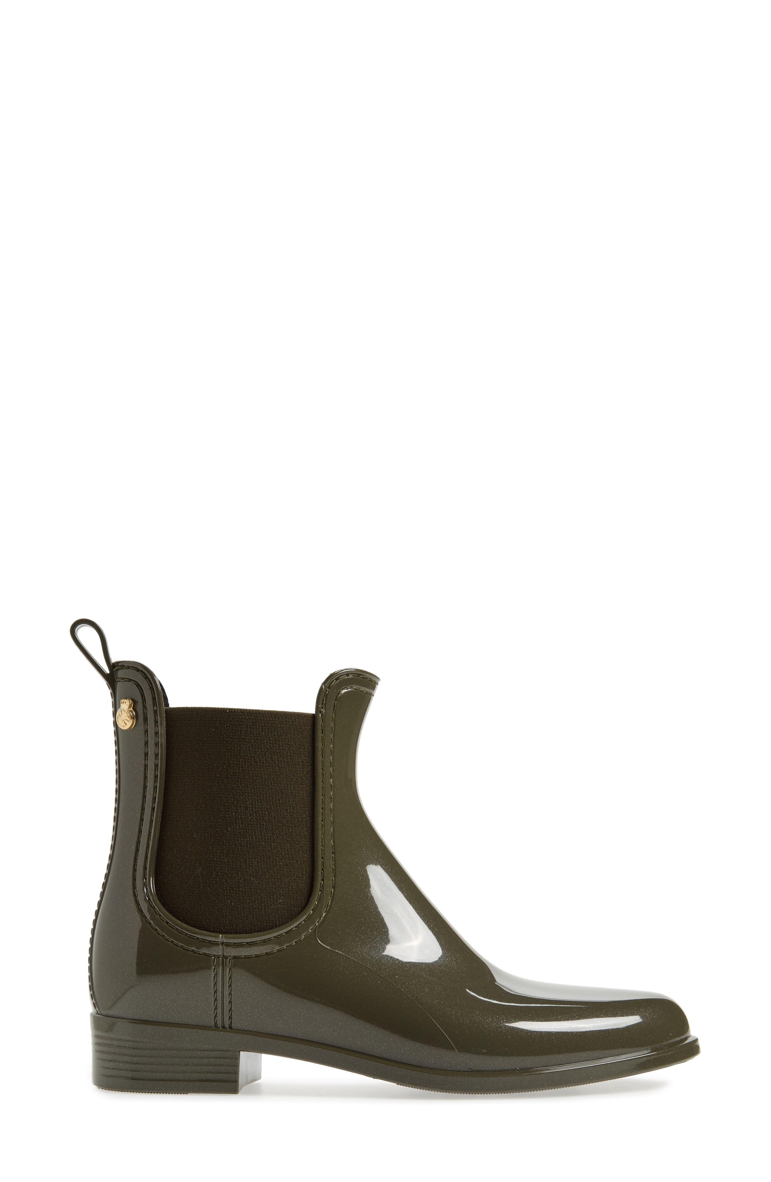 Comfy Waterproof Chelsea Boot,                             Alternate thumbnail 3, color,                             Metal Green Gloss