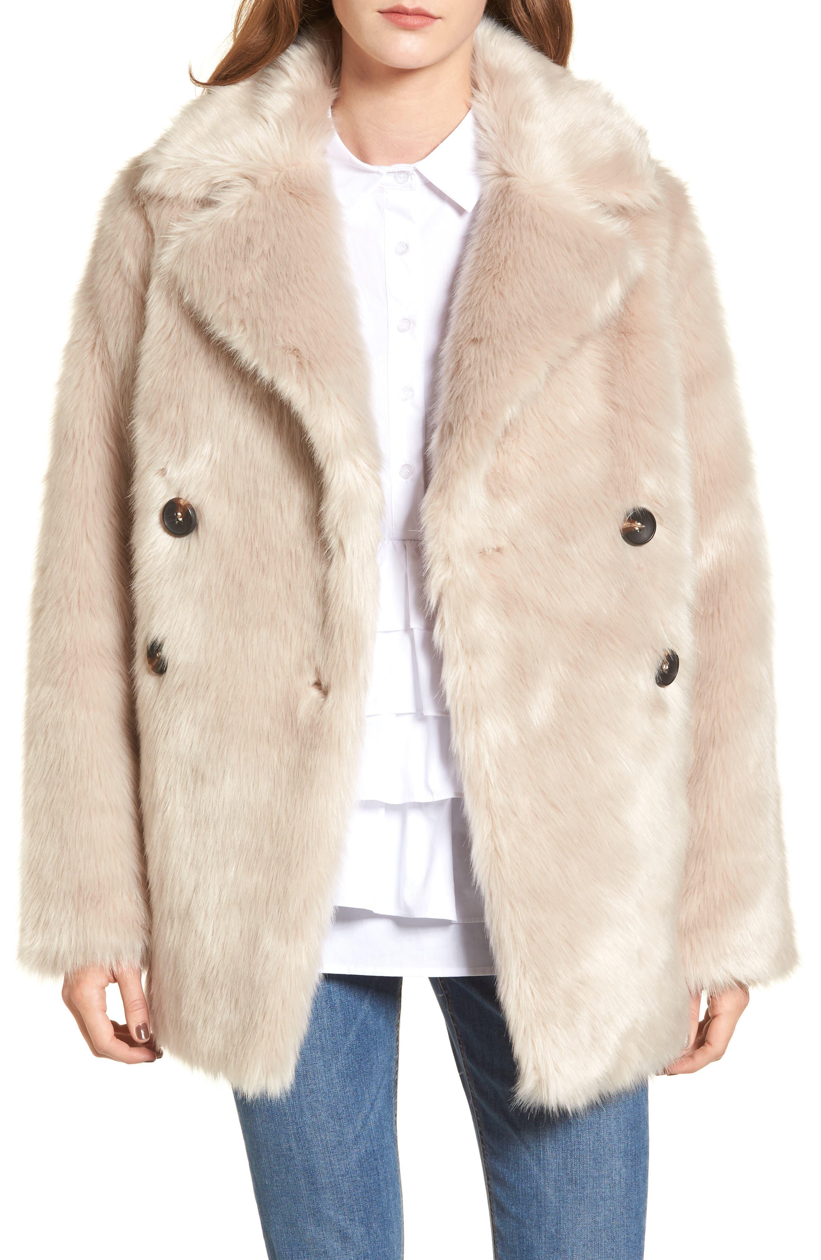 Faux Fur Coat,                         Main,                         color, Cream