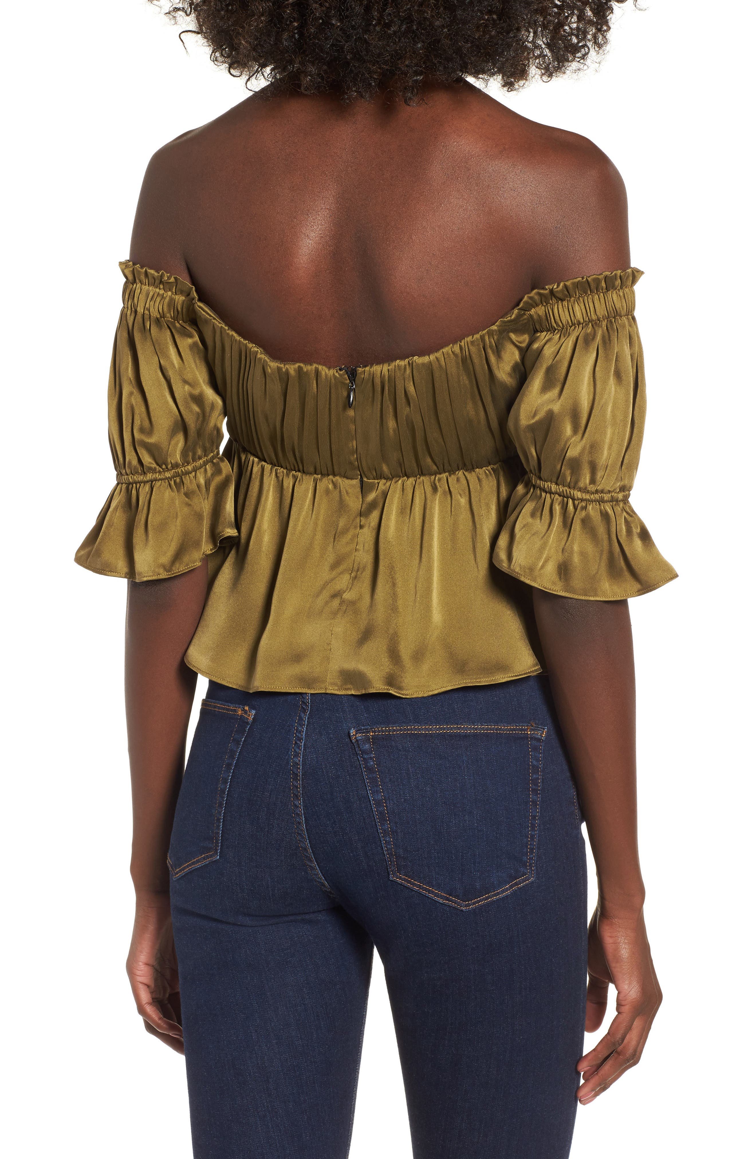 Monte Off the Shoulder Silk Top,                             Alternate thumbnail 2, color,                             Army Green