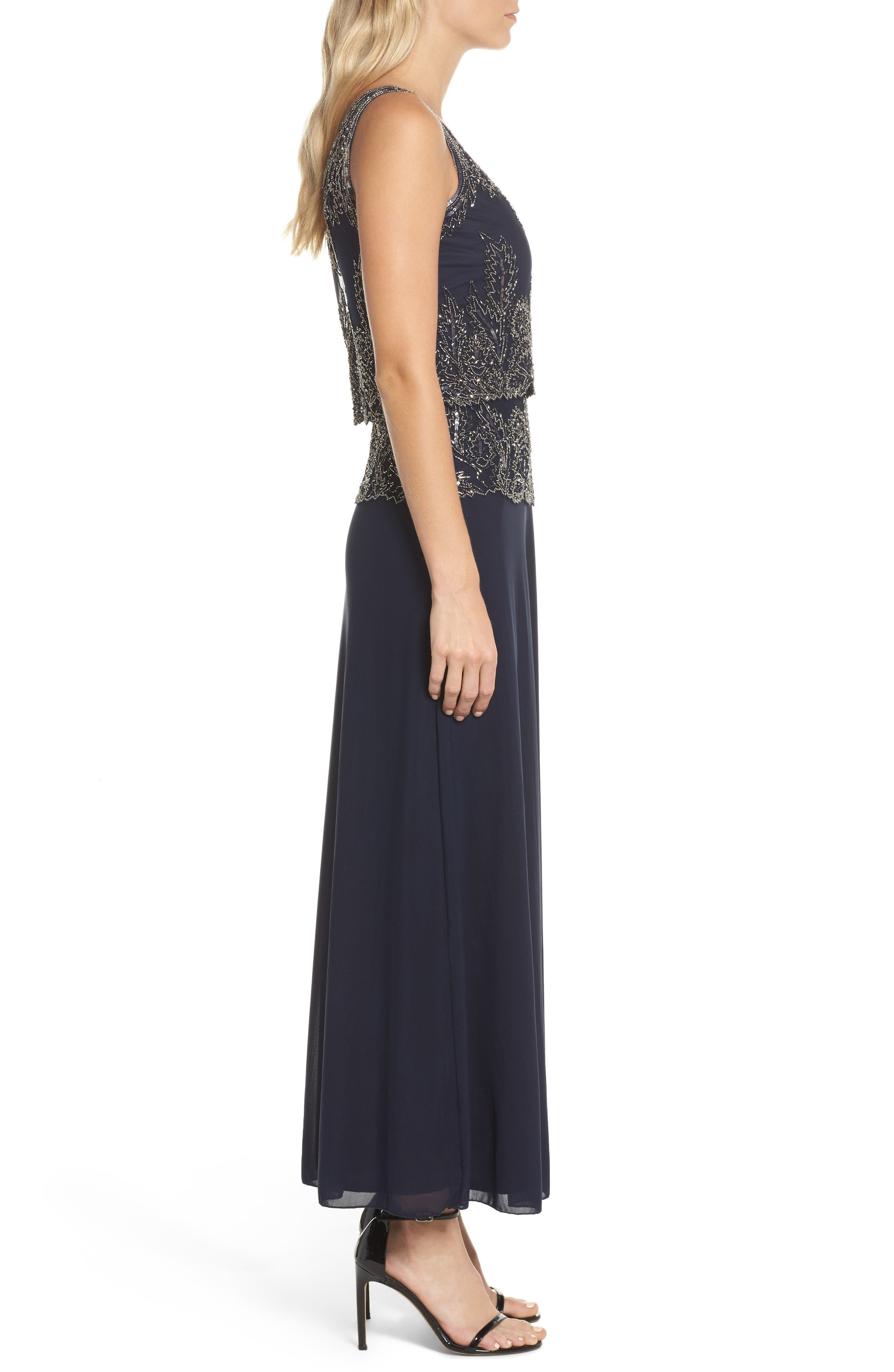 Beaded Tiered Popover Gown,                             Alternate thumbnail 3, color,                             Navy/ Merc