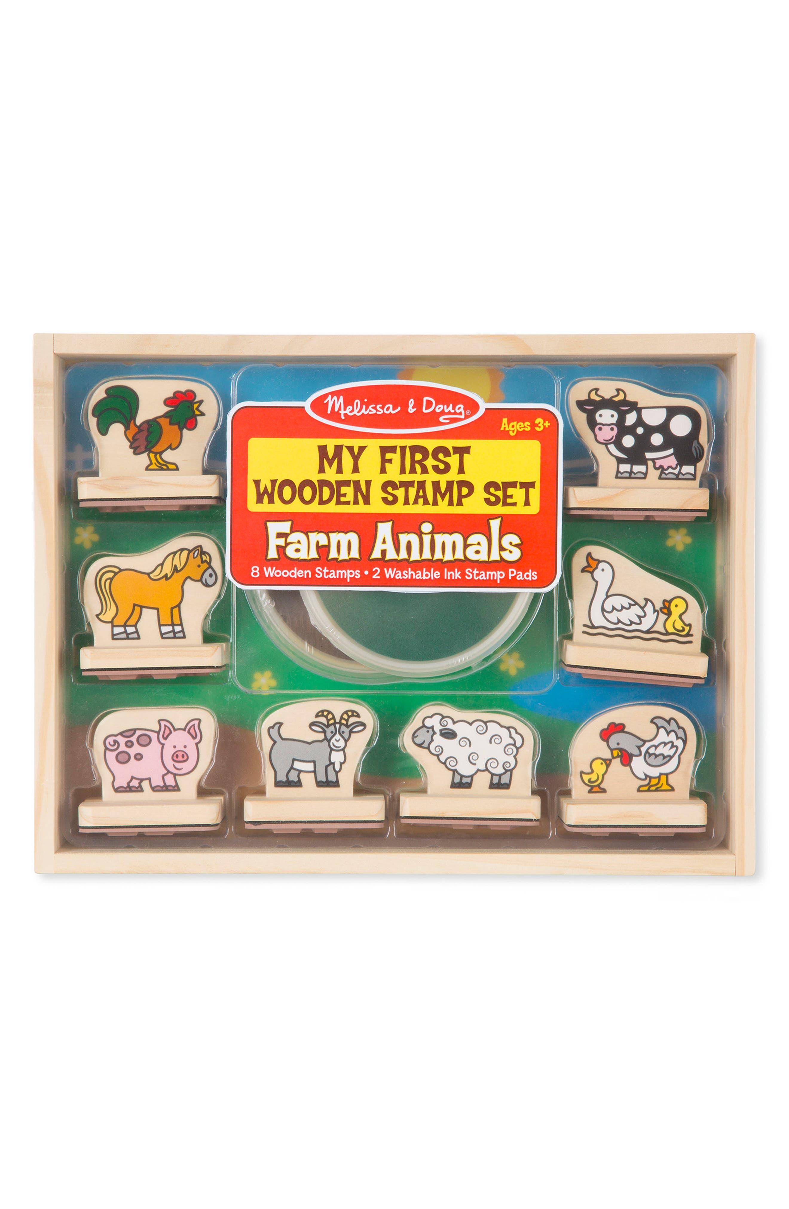Melissa & Doug 10-Piece My First Wooden Stamp Set - Farm Animals