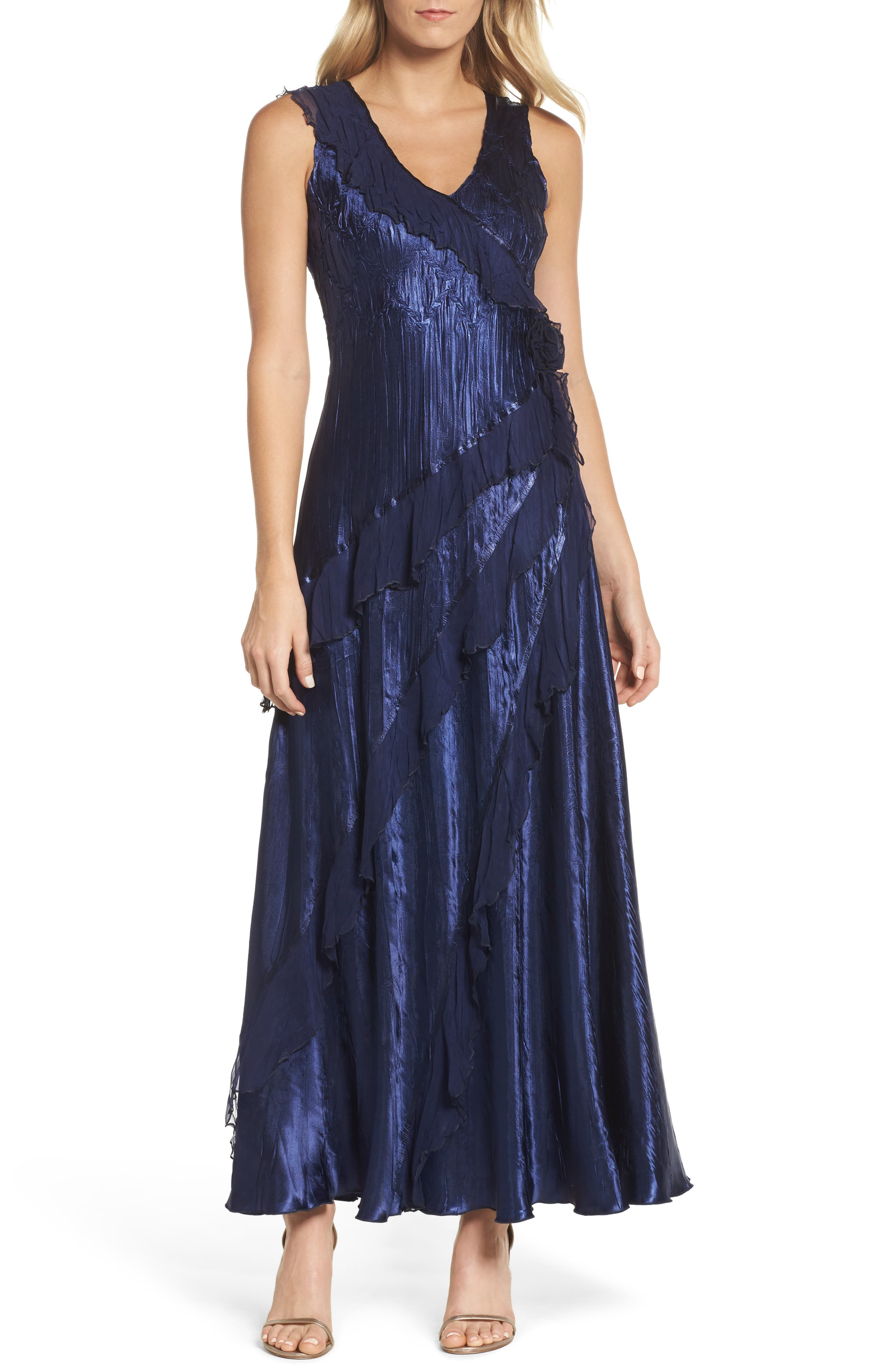 Ruffle Maxi Dress with Wrap,                             Alternate thumbnail 5, color,                             Midnight Navy