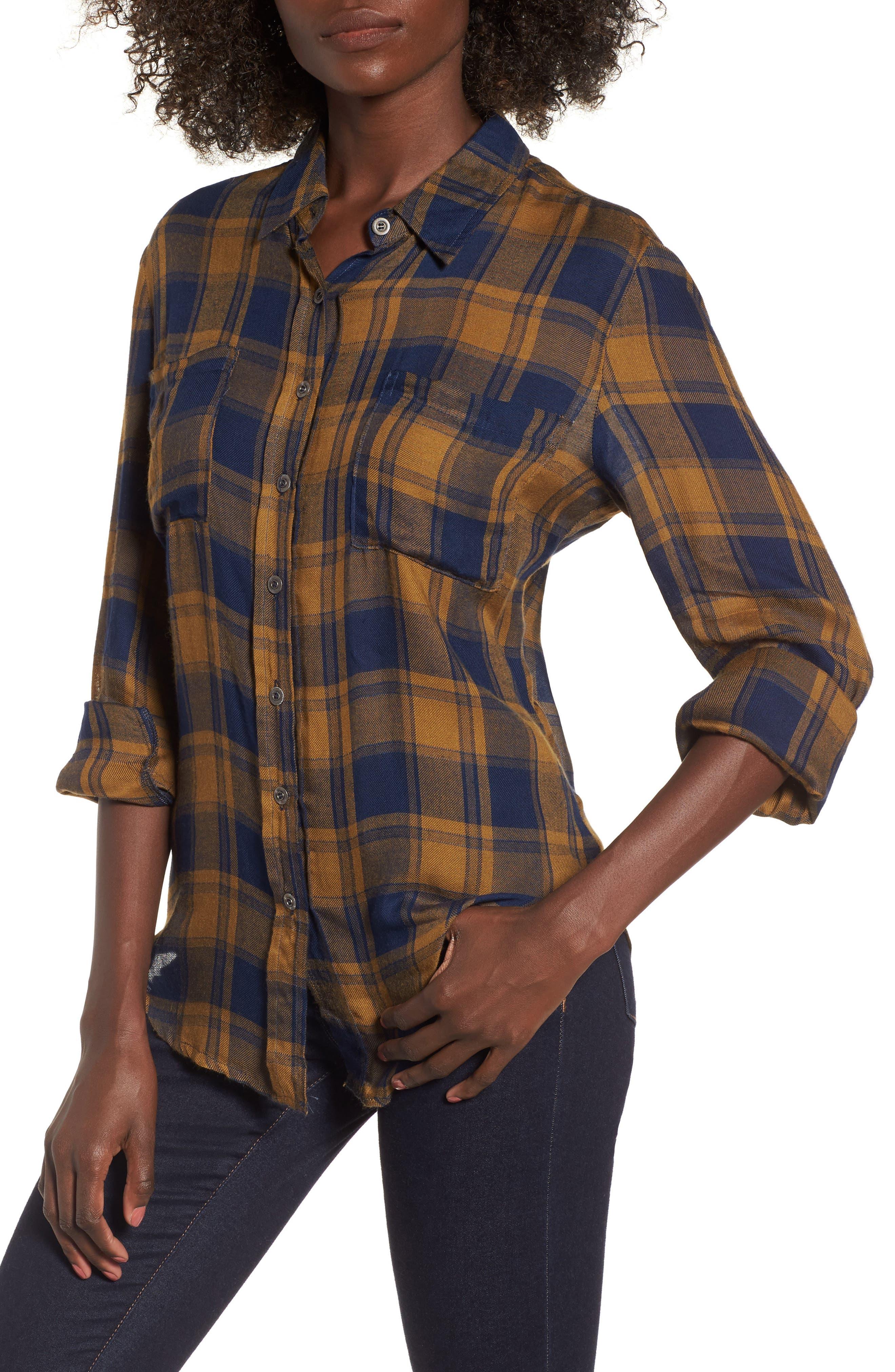 Anarchy Plaid Shirt,                         Main,                         color, Mustard