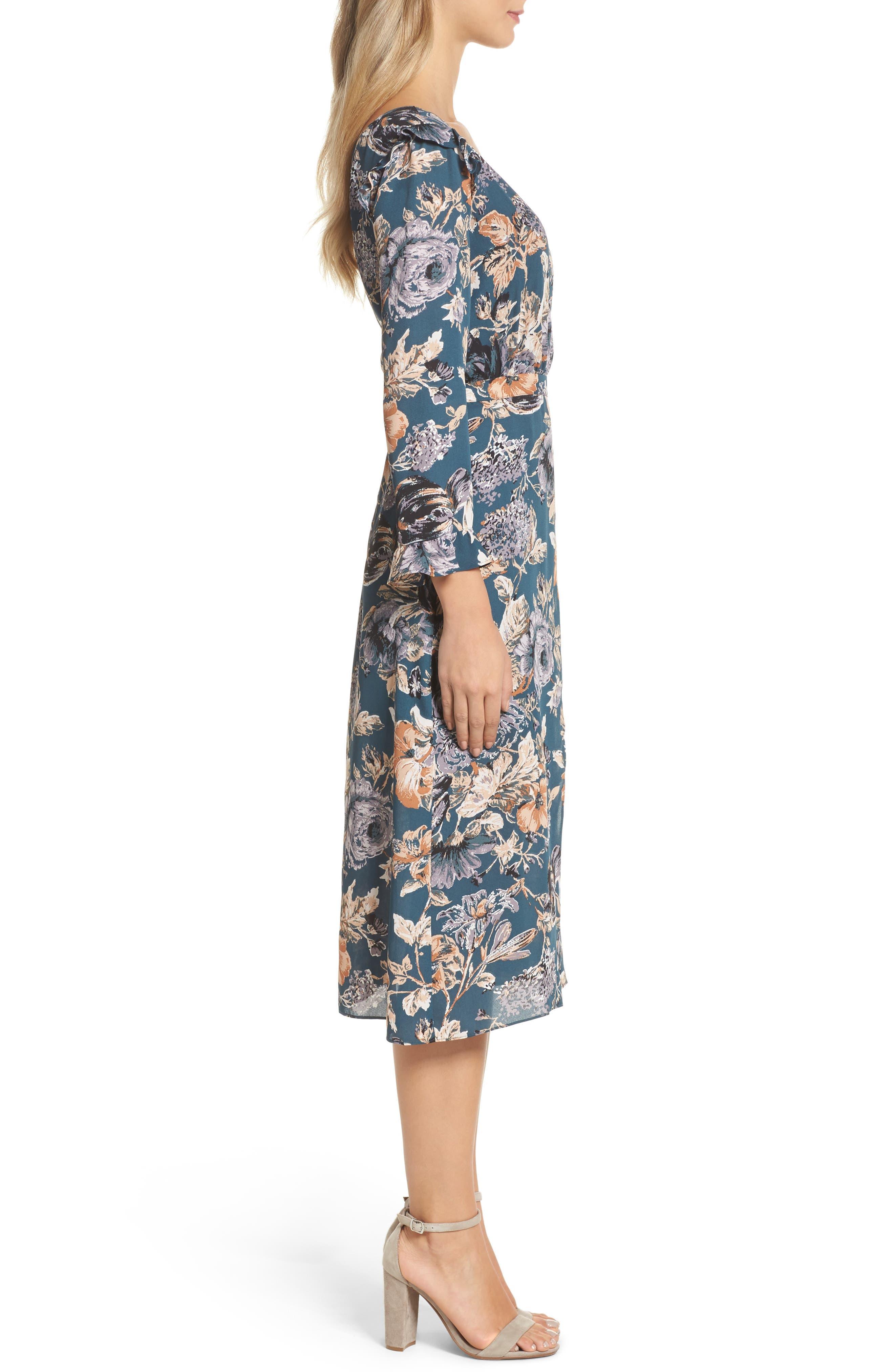 Je T'aime Midi Dress,                             Alternate thumbnail 4, color,                             Spruce Floral