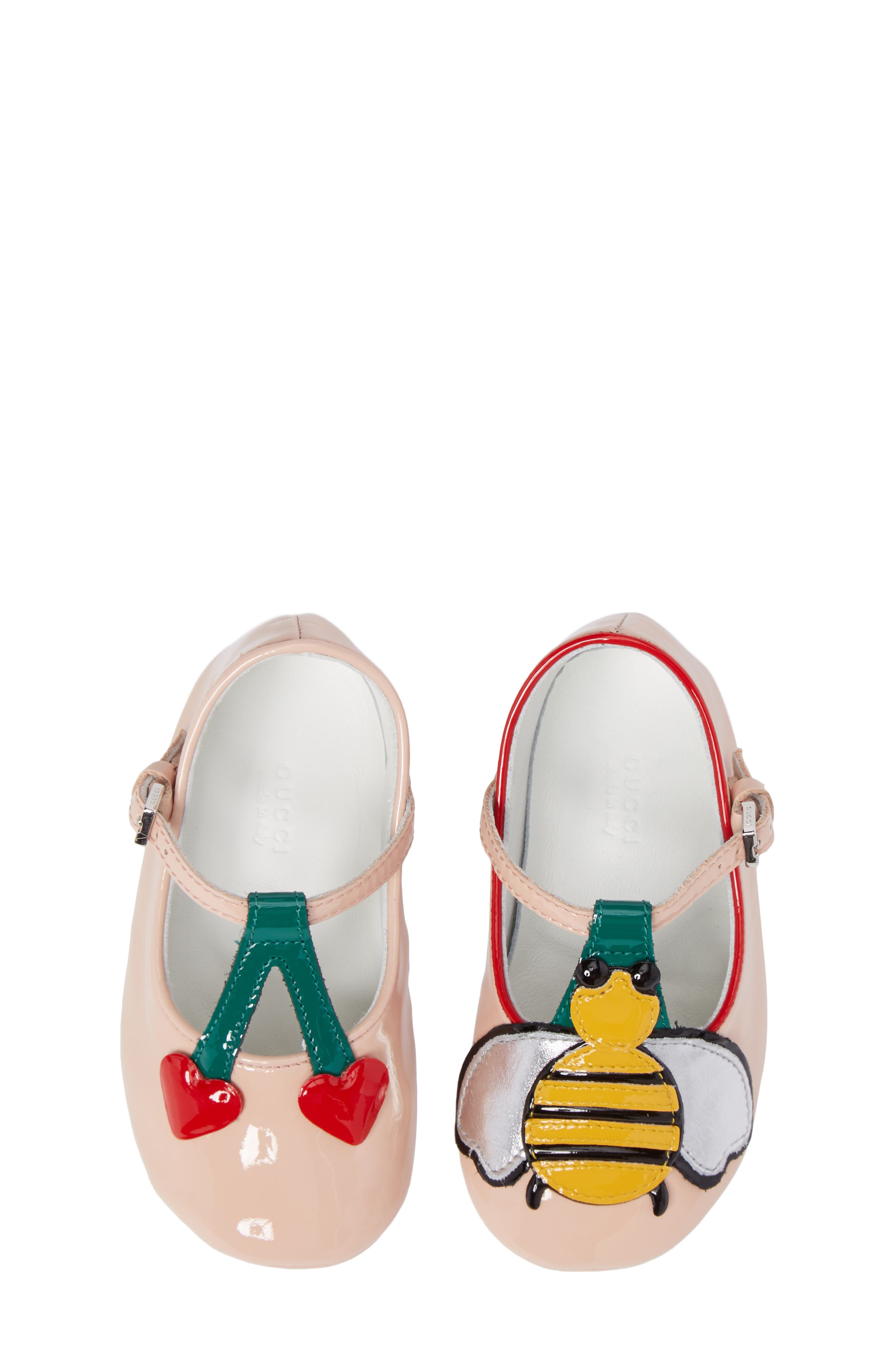 Cerise Baby Bee Mary Jane Crib Shoe,                             Main thumbnail 1, color,                             Pink/ Emerald