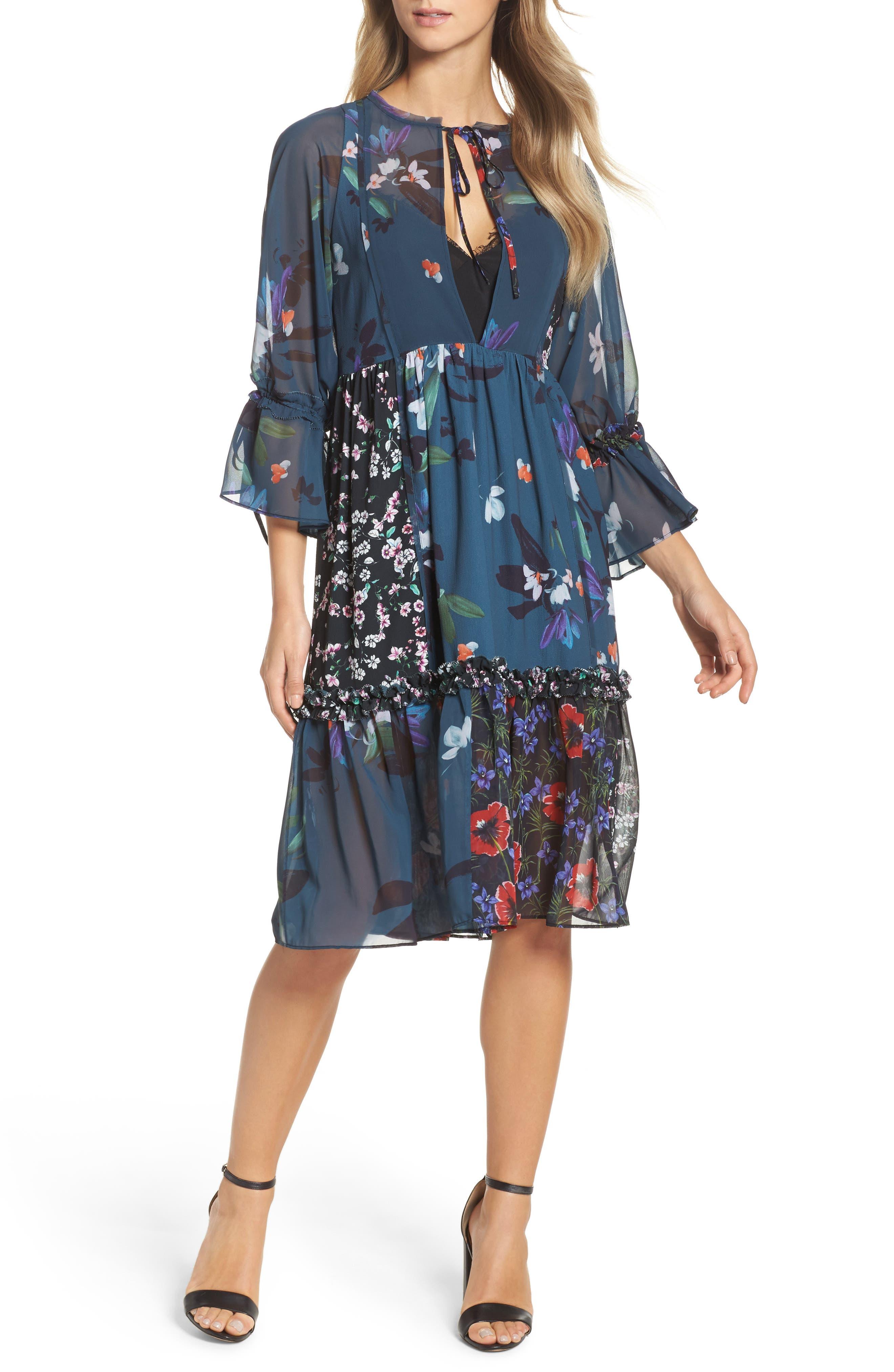 Celia Midi Dress,                             Main thumbnail 1, color,                             Deep Teal Multi
