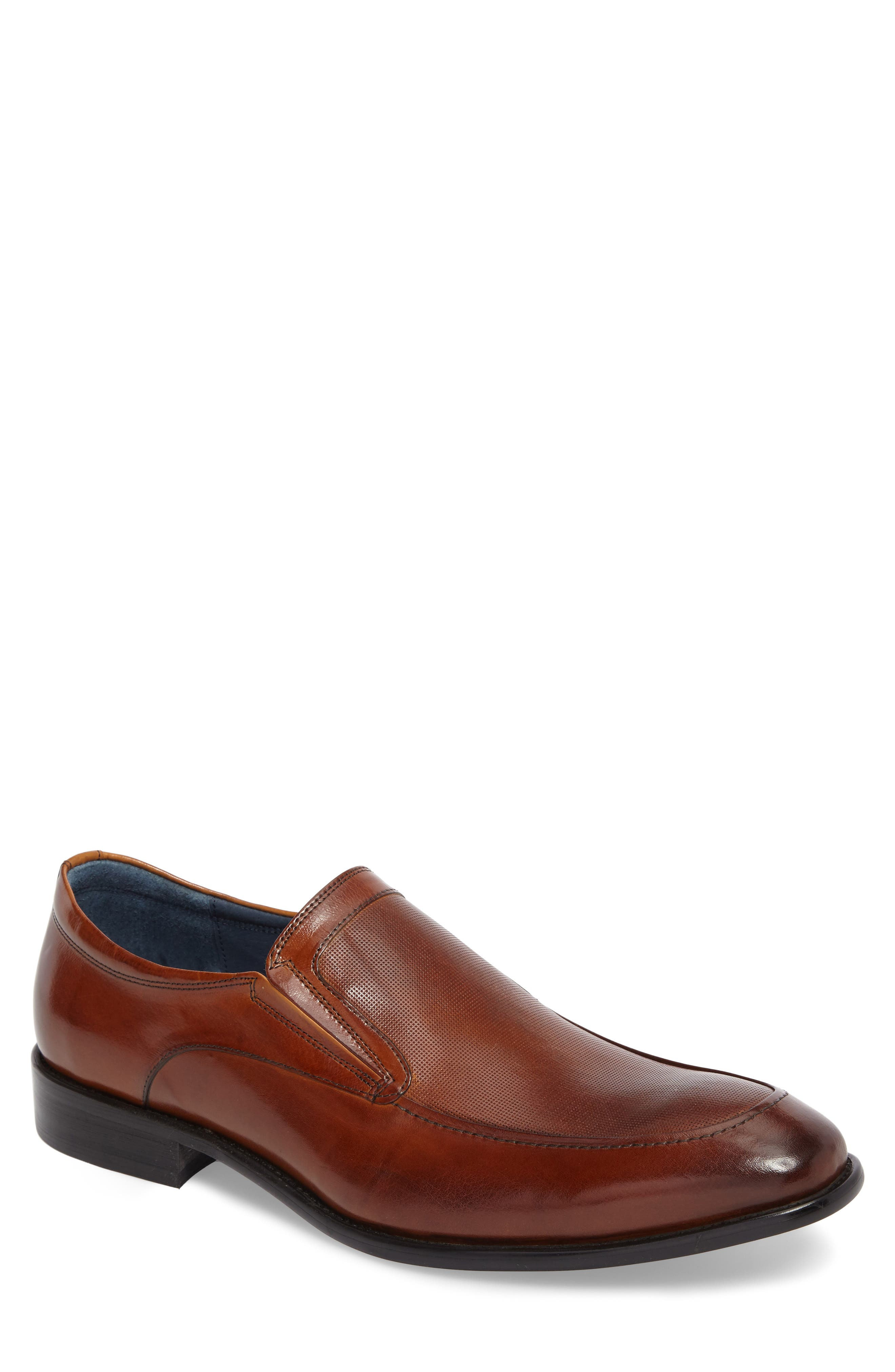 Jace Embossed Apron Toe Loafer,                             Main thumbnail 1, color,                             Cognac Leather