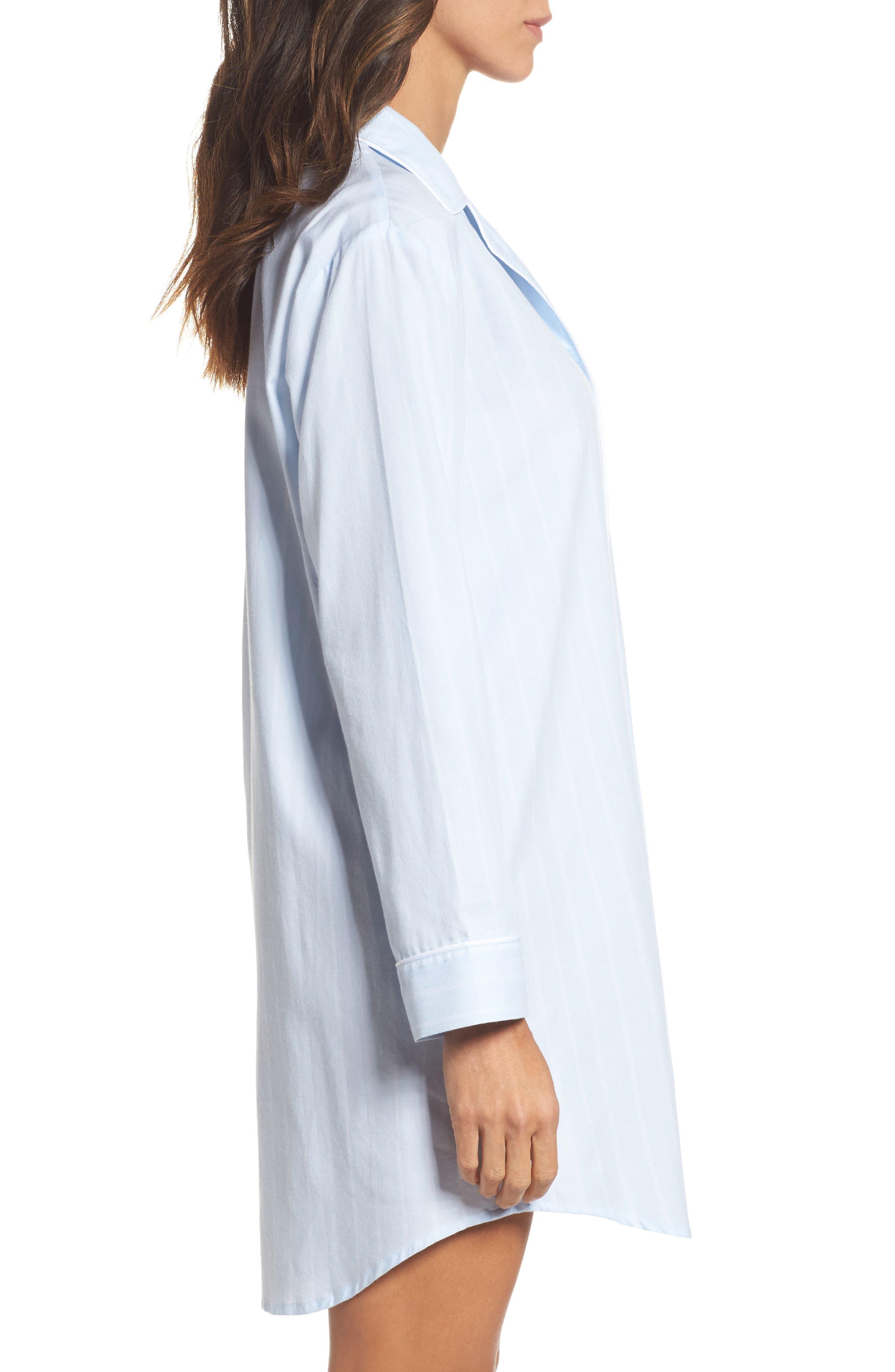 Notch Collar Sleep Shirt,                             Alternate thumbnail 3, color,                             Blue Pin Stripe