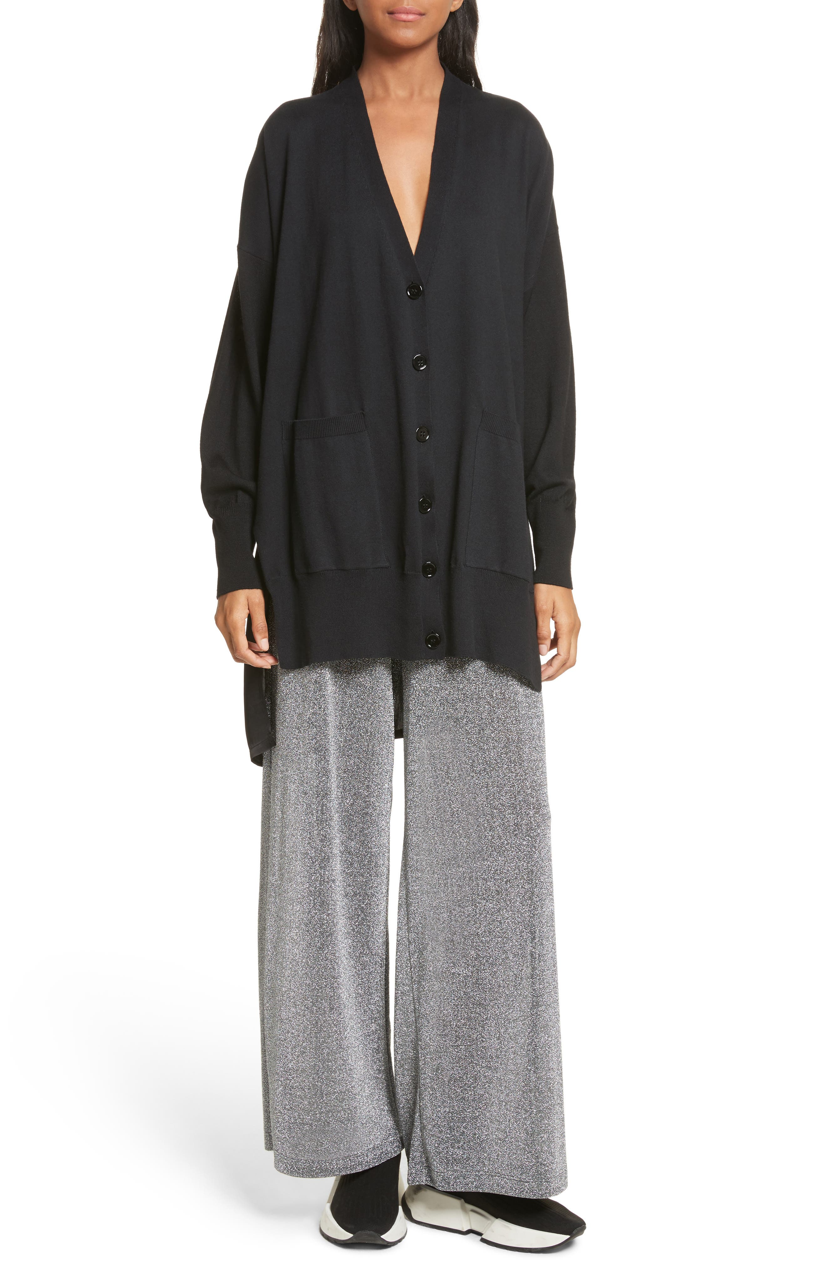 Metallic Jersey Wide Leg Pants,                             Alternate thumbnail 2, color,                             Grey
