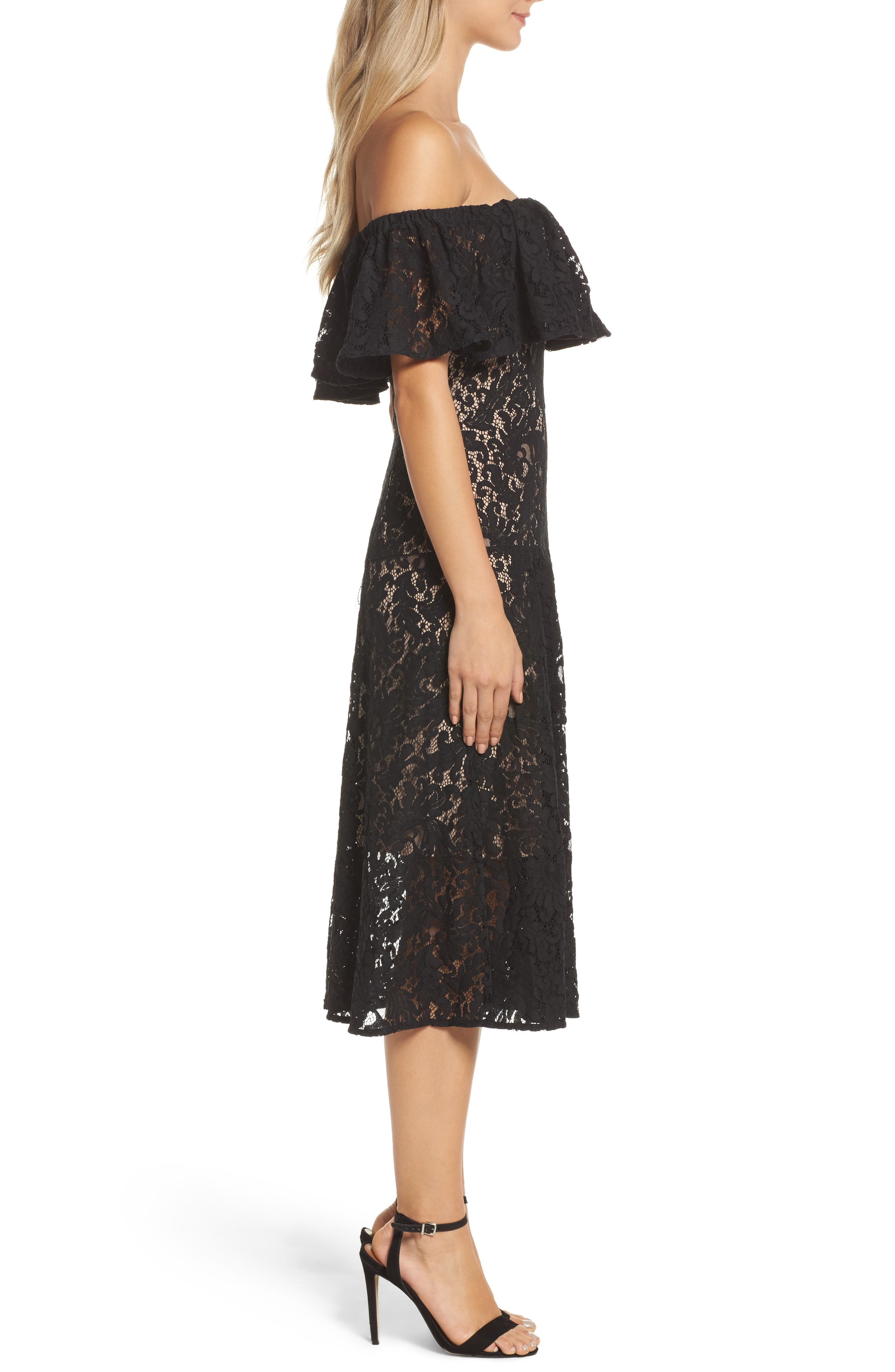 Sunday Silence Lace Off the Shoulder Dress,                             Alternate thumbnail 3, color,                             Black