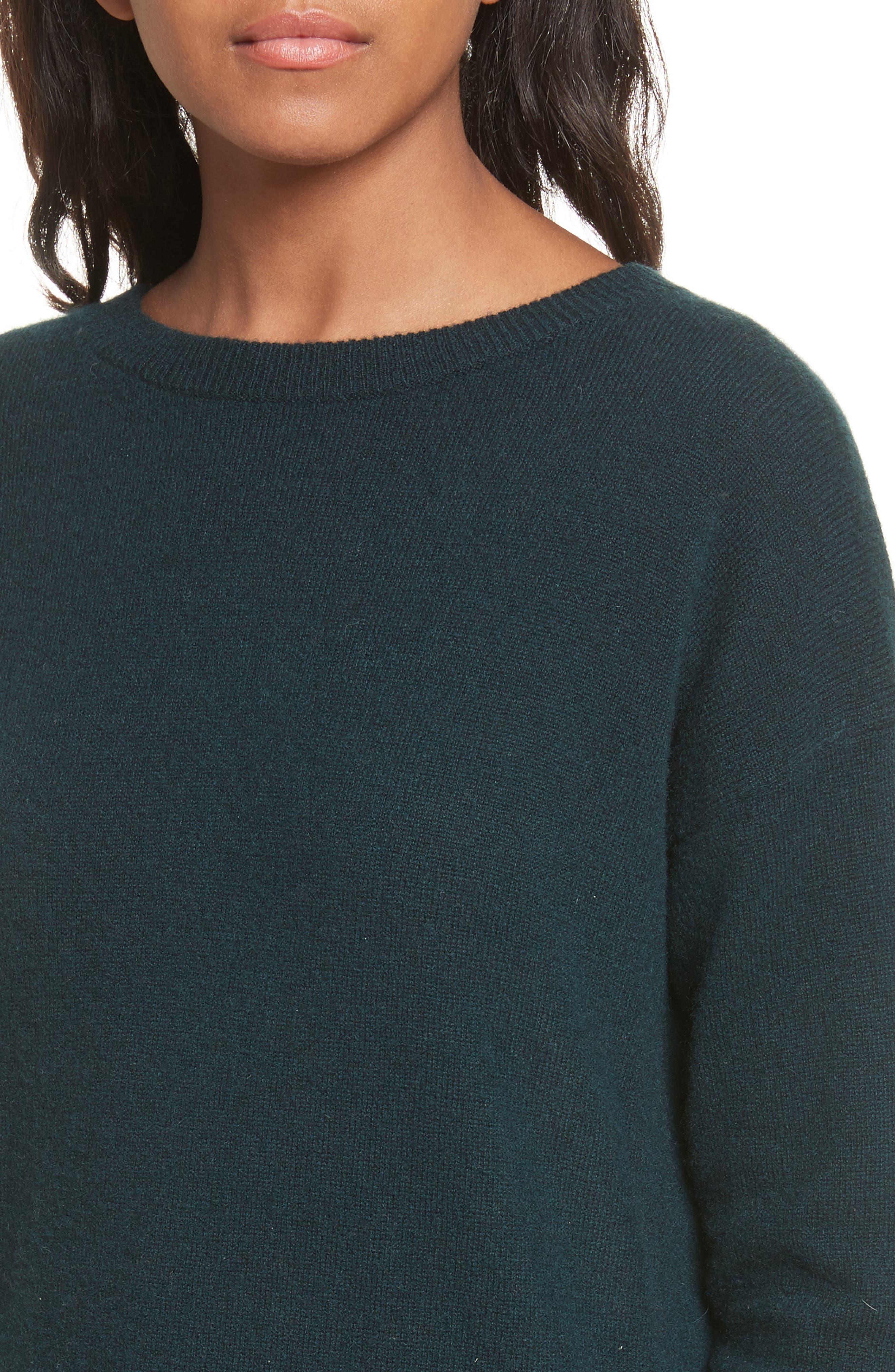 Velvet Tie Cashmere Sweater,                             Alternate thumbnail 4, color,                             Juniper