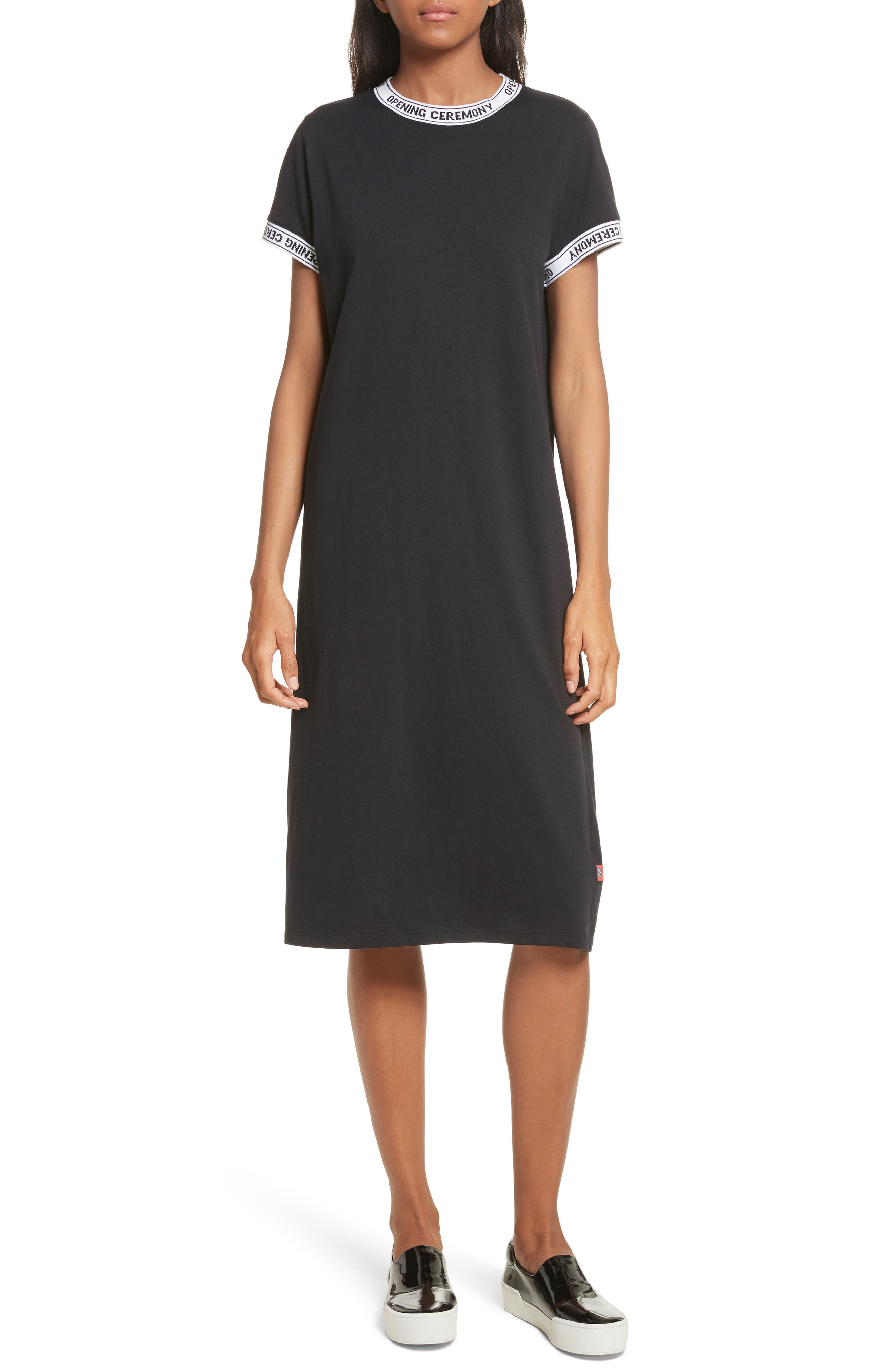 Banded T-Shirt Dress,                             Main thumbnail 1, color,                             Black