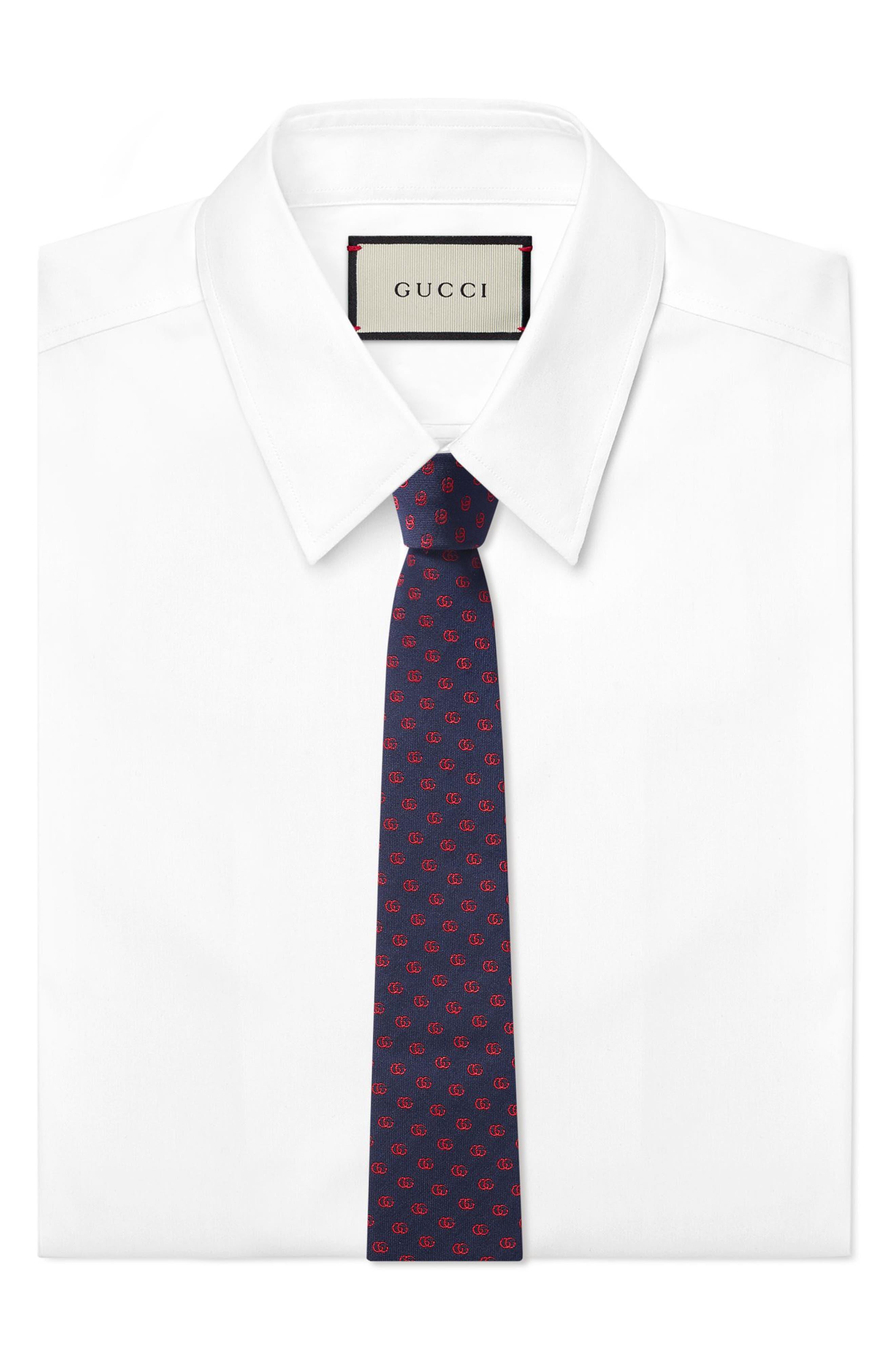 Alternate Image 2  - Gucci Running Logo Silk Jacquard Tie