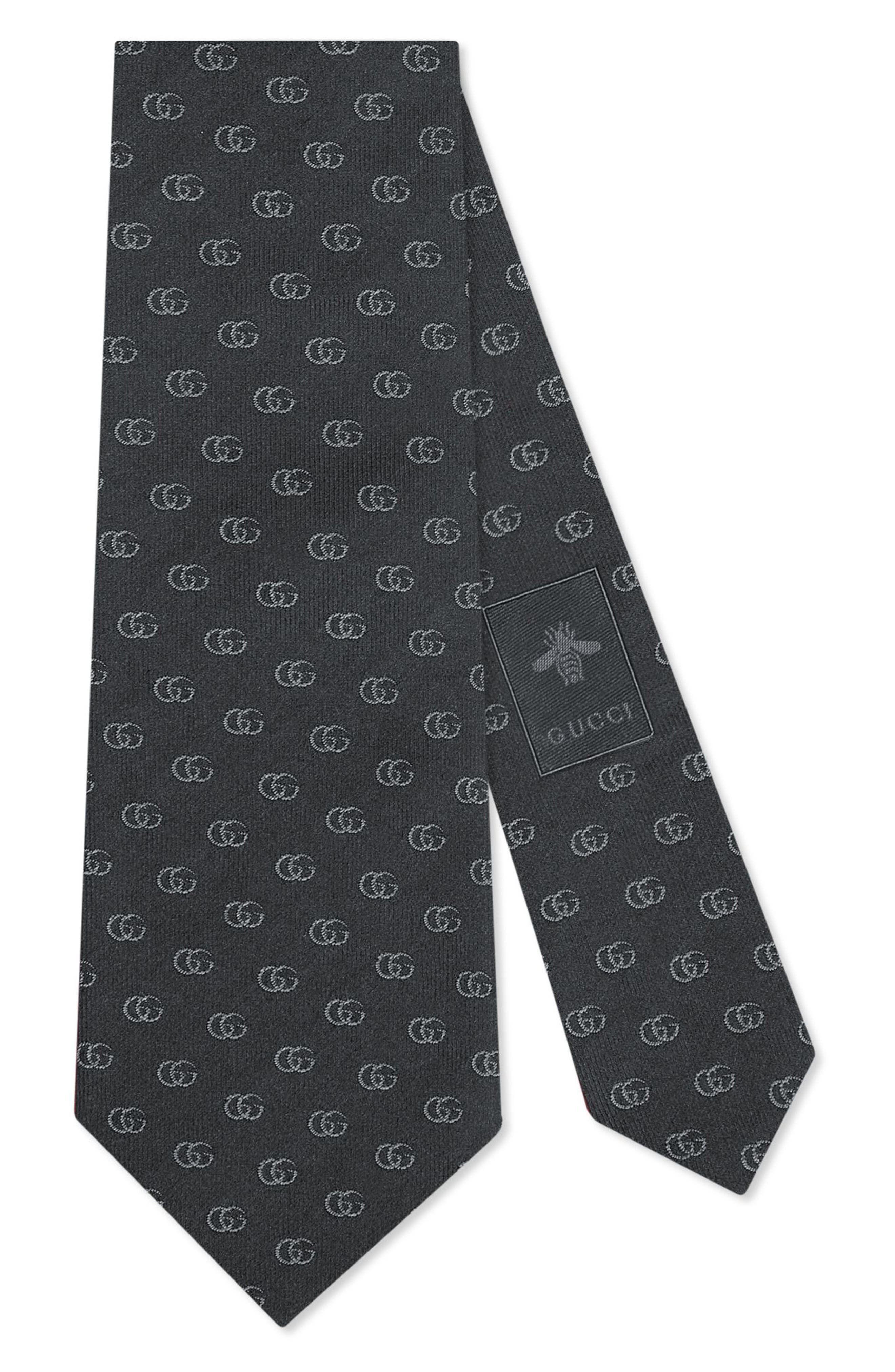 Gucci Running Logo Silk Jacquard Tie