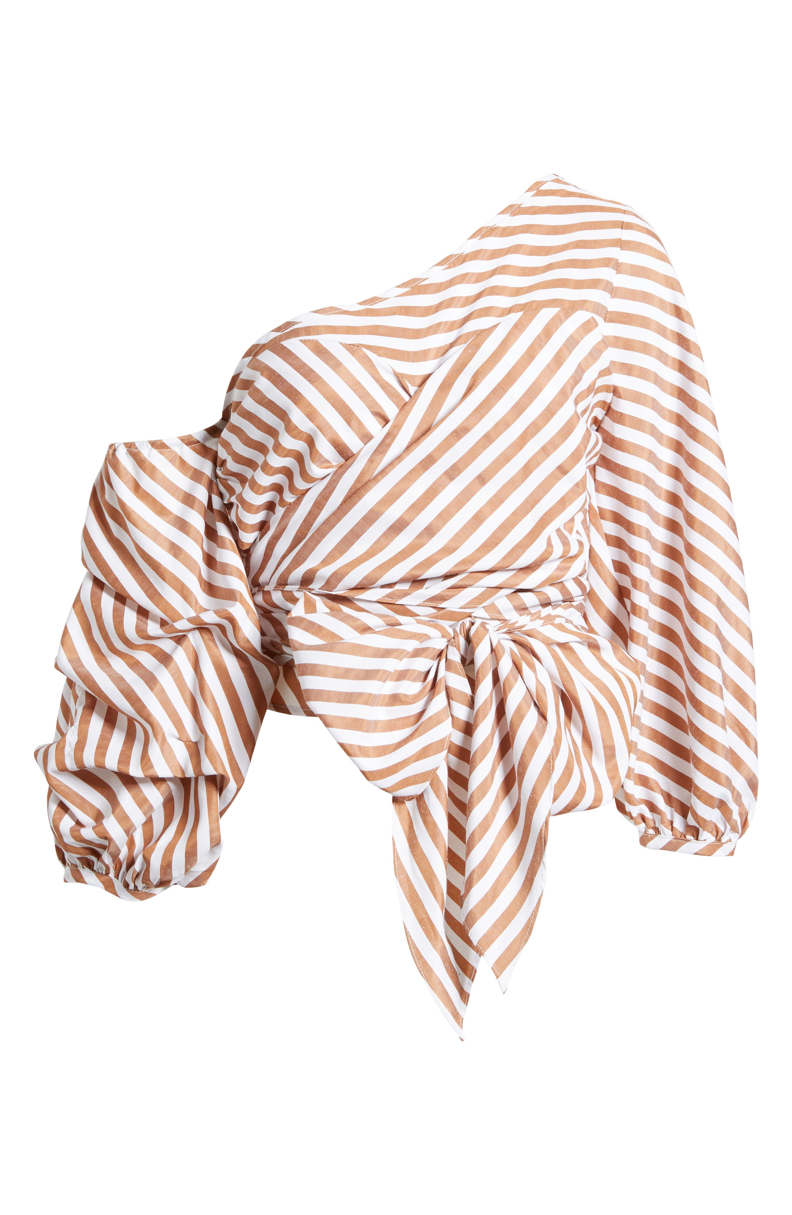 Wrap Me in Love One-Shoulder Top,                             Alternate thumbnail 6, color,                             Striped Brown