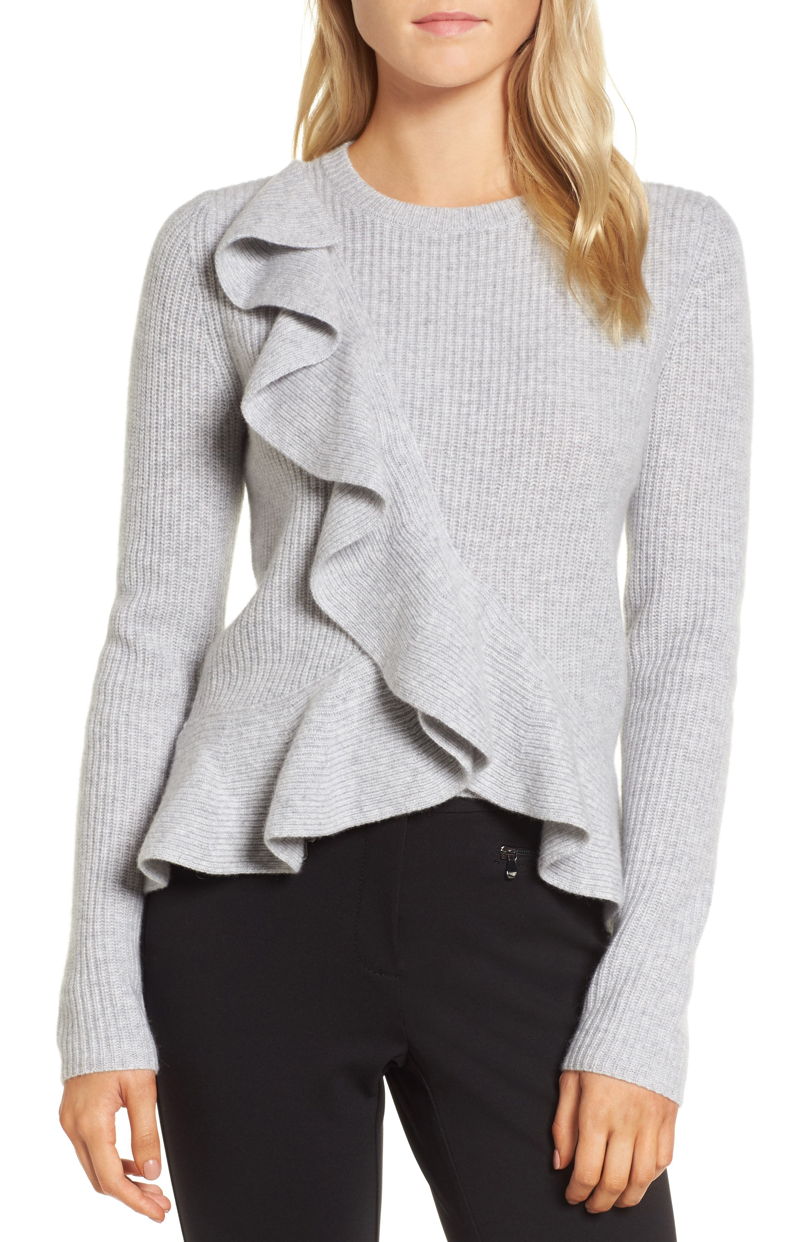 Ruffled Cashmere Sweater,                         Main,                         color, Grey Clay Heather